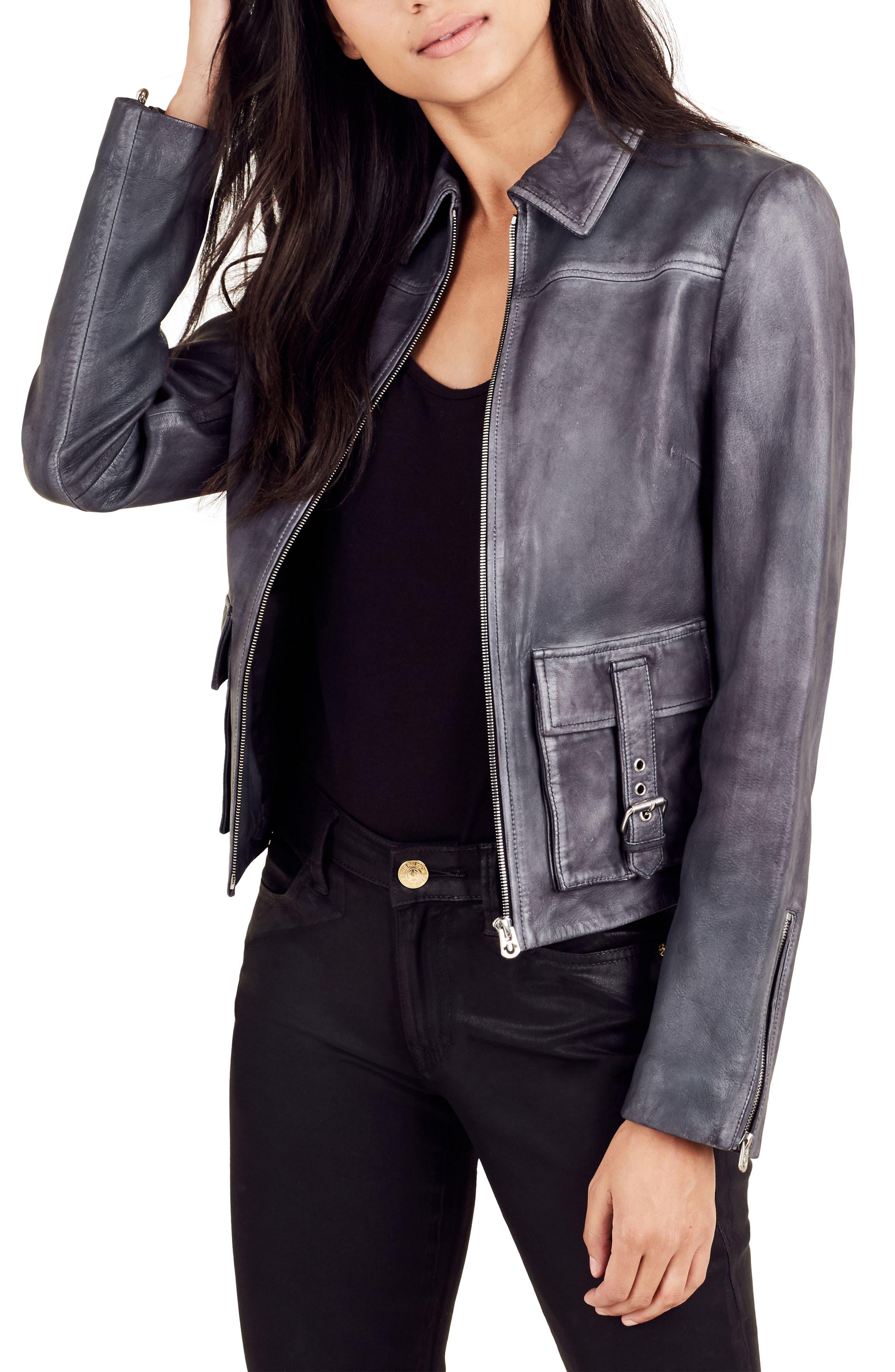 Alternate Image 3  - True Religion Brand Jeans Leather Jacket