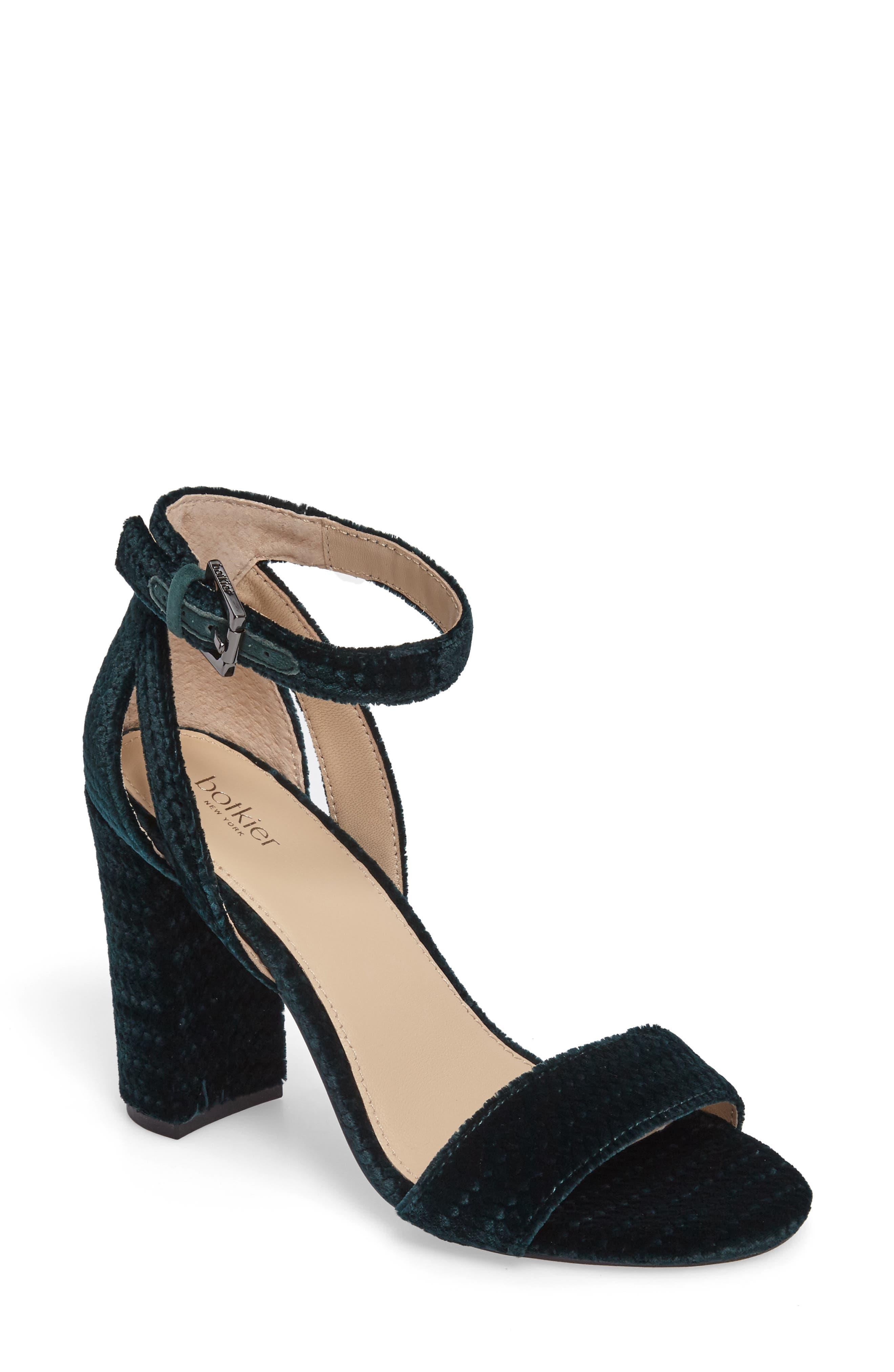 Gianna Ankle Strap Sandal,                             Main thumbnail 1, color,                             Emerald Velvet