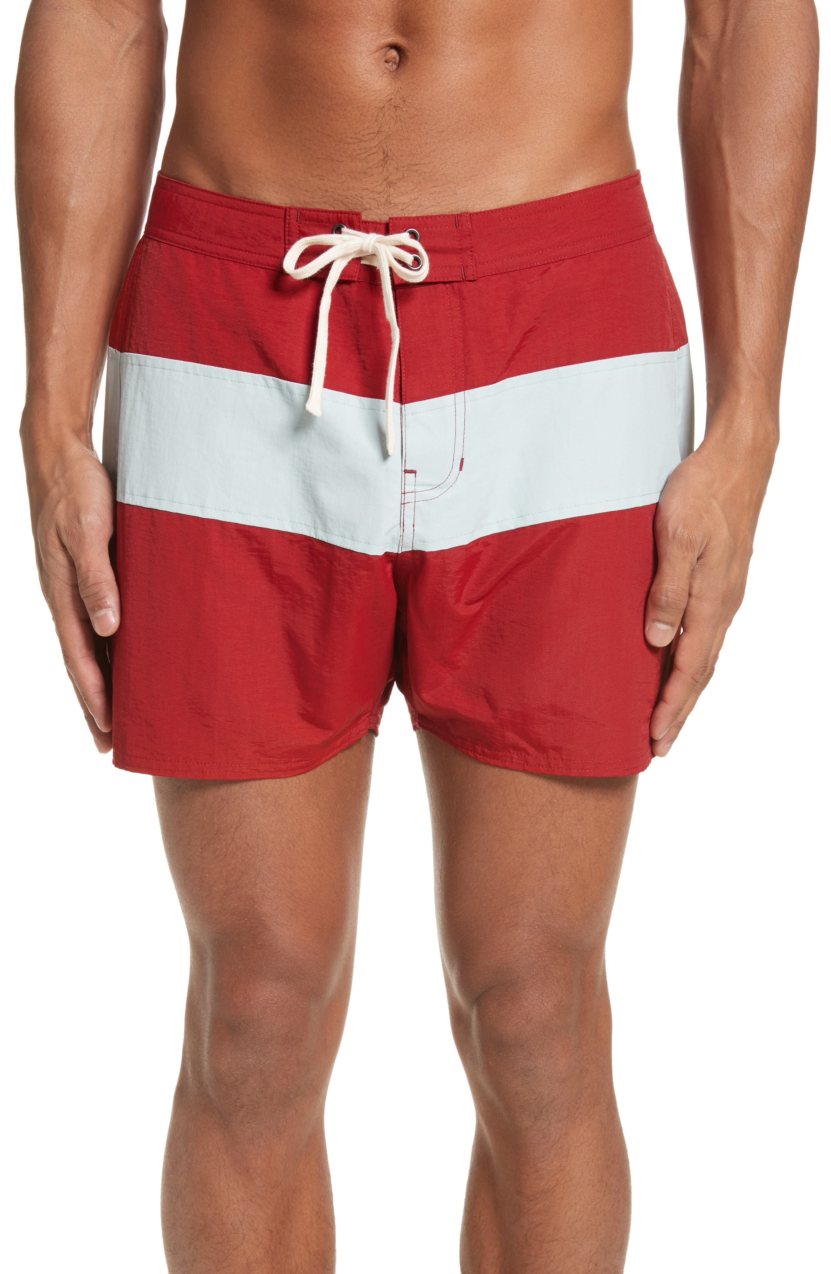 Saturdays Nyc Surf Ink Shorts Stone Board Red Striped Blue Grant In f7frqw