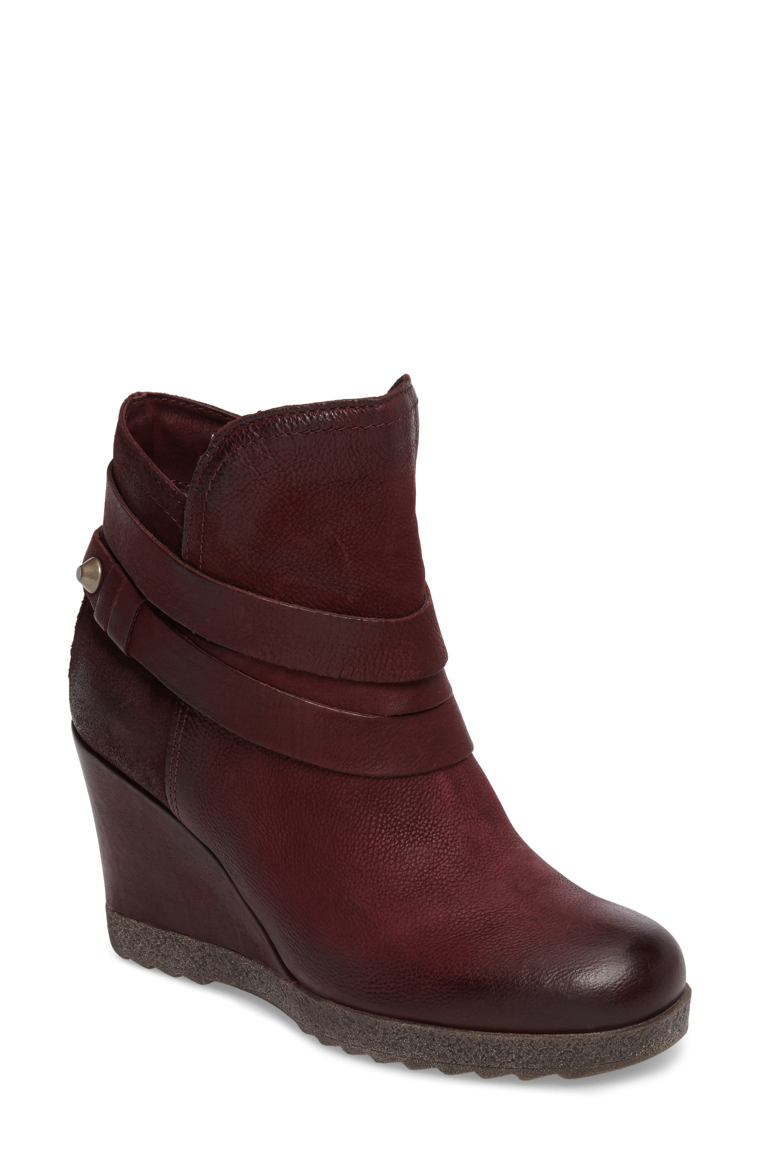 Narcissa Ankle Wrap Wedge Bootie,                         Main,                         color, Eggplant