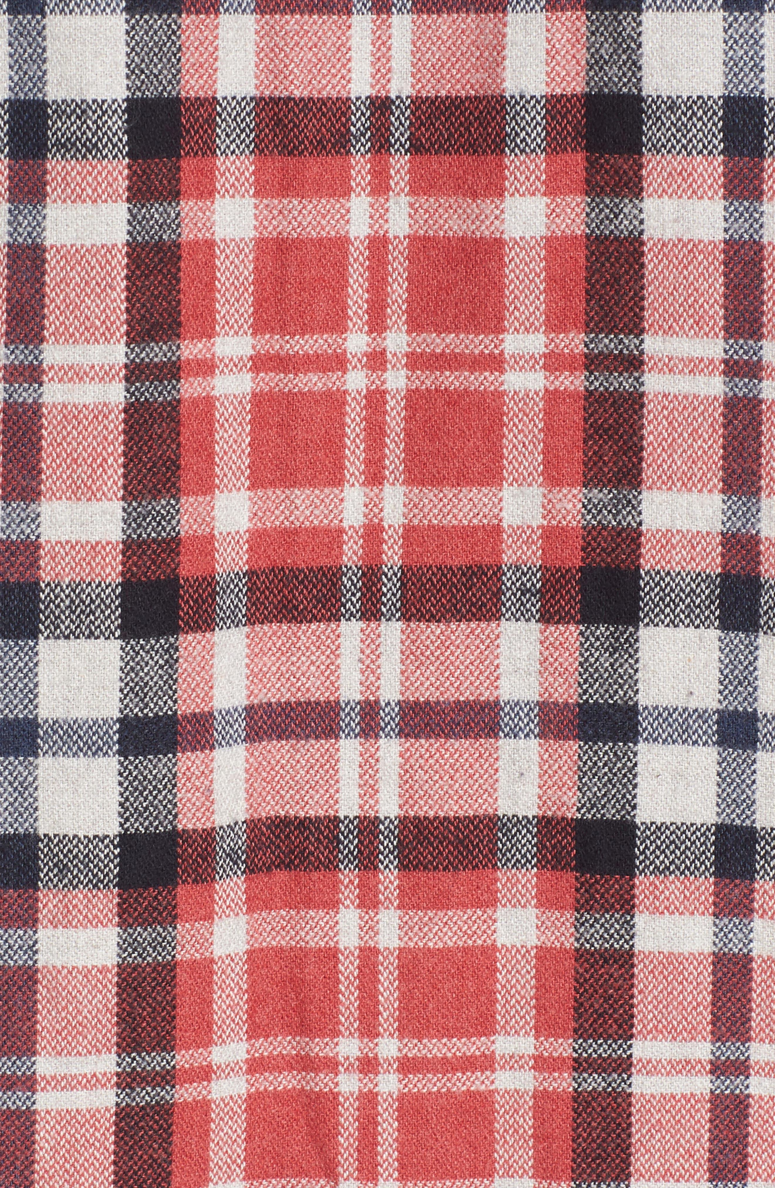 Brampton Textured Plaid Flannel Shirt,                             Alternate thumbnail 5, color,                             Red Stone Navy