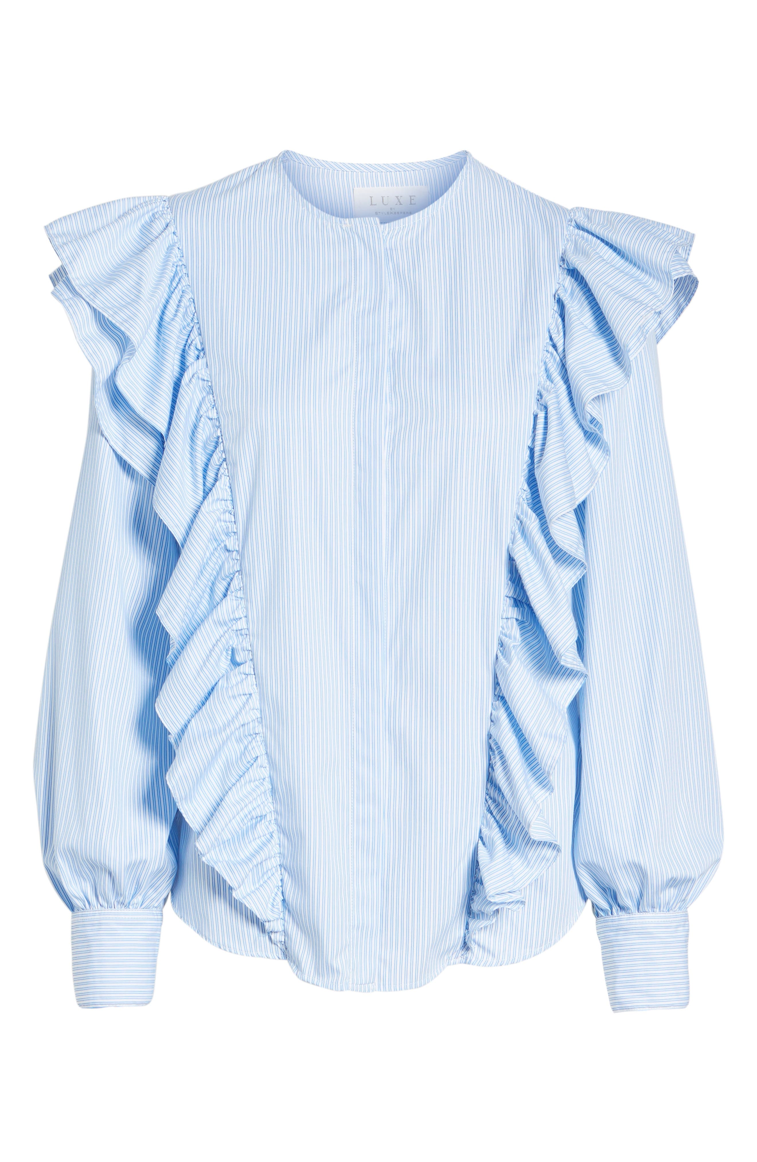 Girl Meets Boy Ruffle Top,                             Alternate thumbnail 7, color,                             Striped Blue