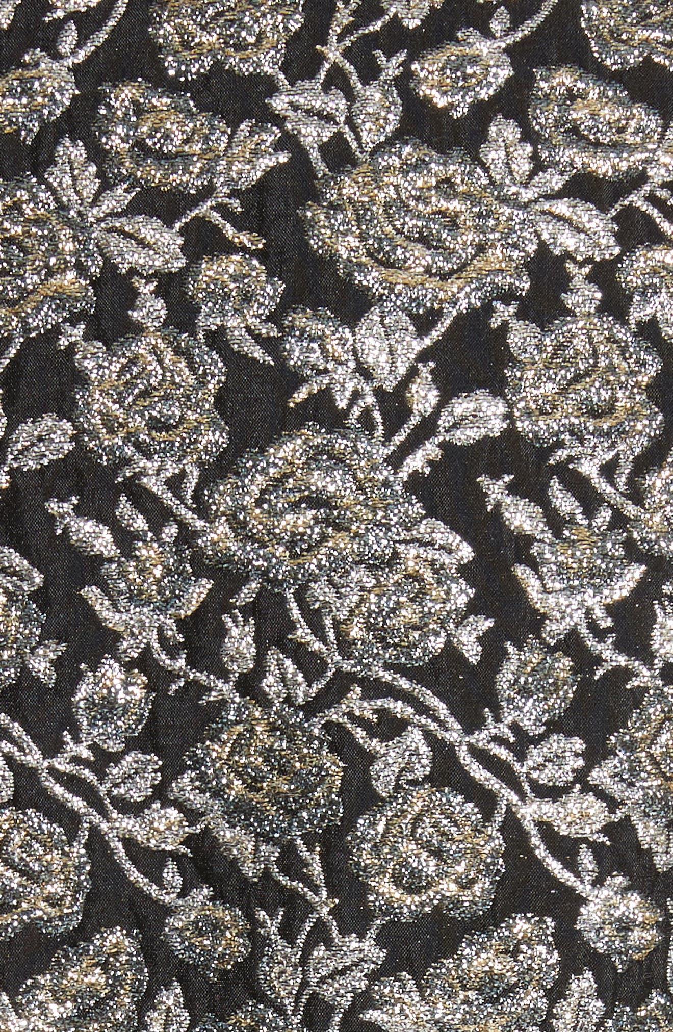 Metallic Jacquard Sheath Dress,                             Alternate thumbnail 5, color,                             Gold Multi