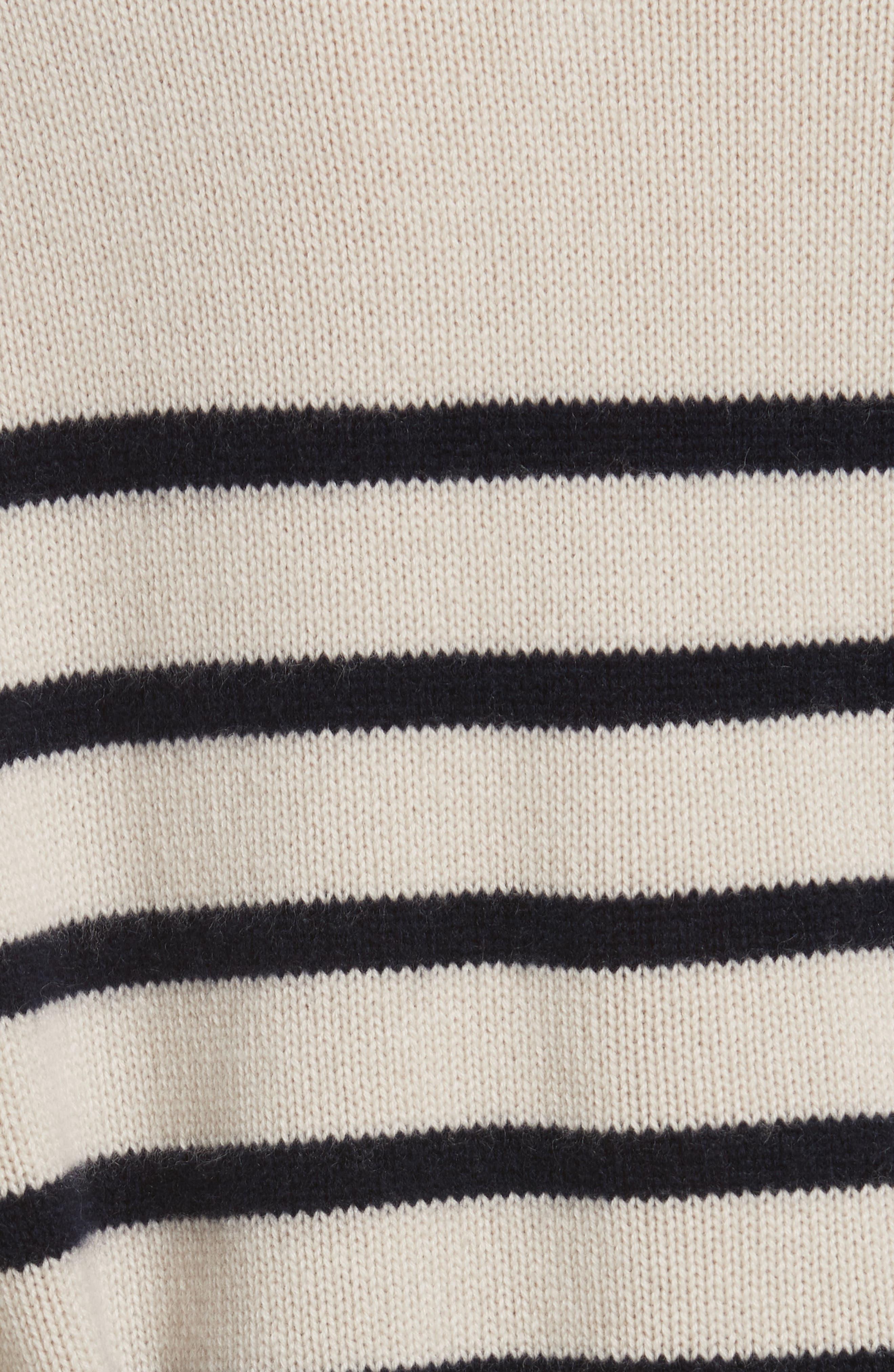 Cashmere Stripe Boxy Crew Sweater,                             Alternate thumbnail 5, color,                             Chalet/ Coastal