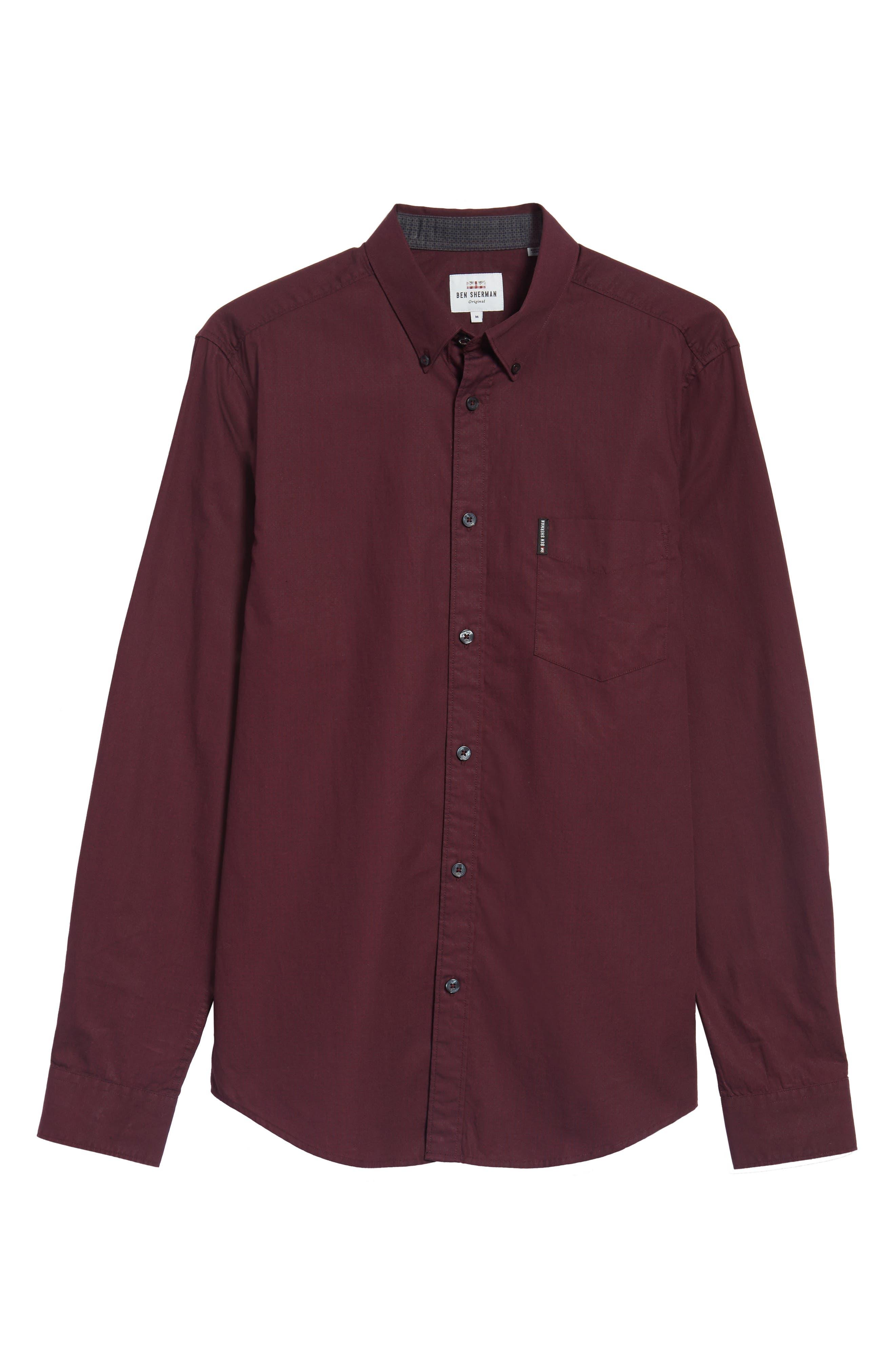 Micro Diamond Print Sport Shirt,                             Alternate thumbnail 6, color,                             Grape
