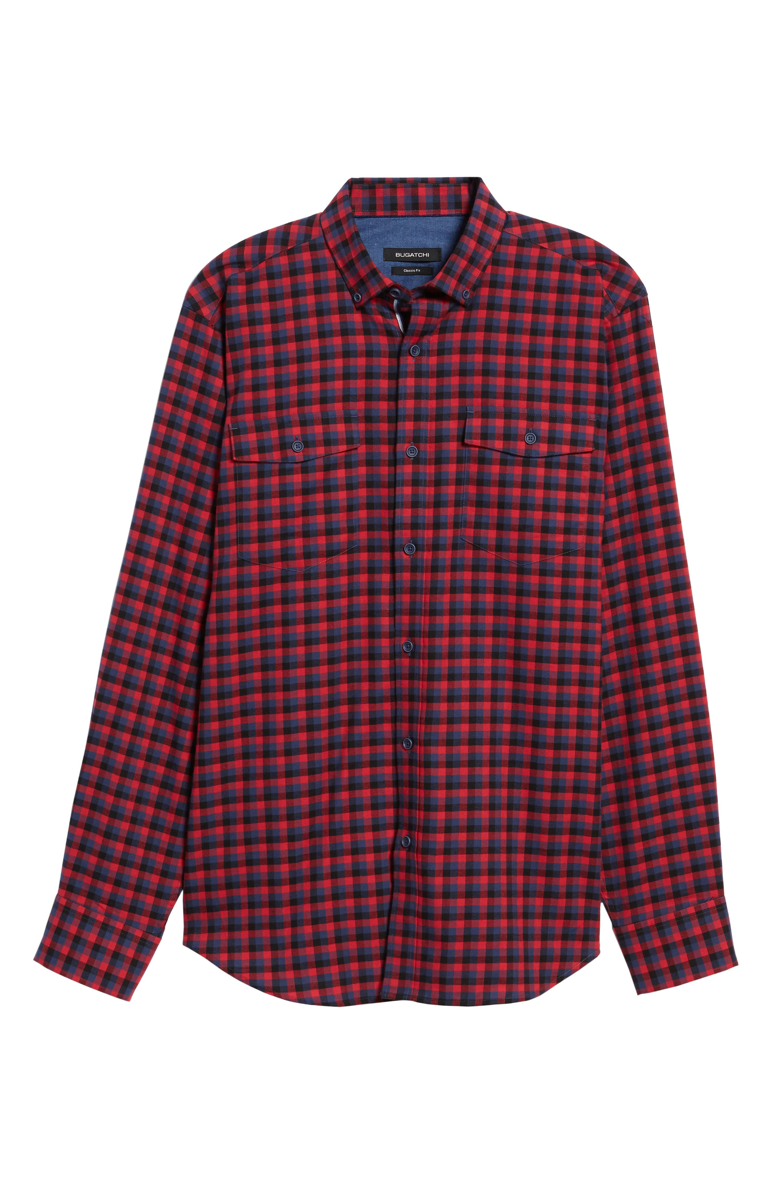 Classic Fit Buffalo Check Flannel Sport Shirt,                             Alternate thumbnail 6, color,                             Ruby