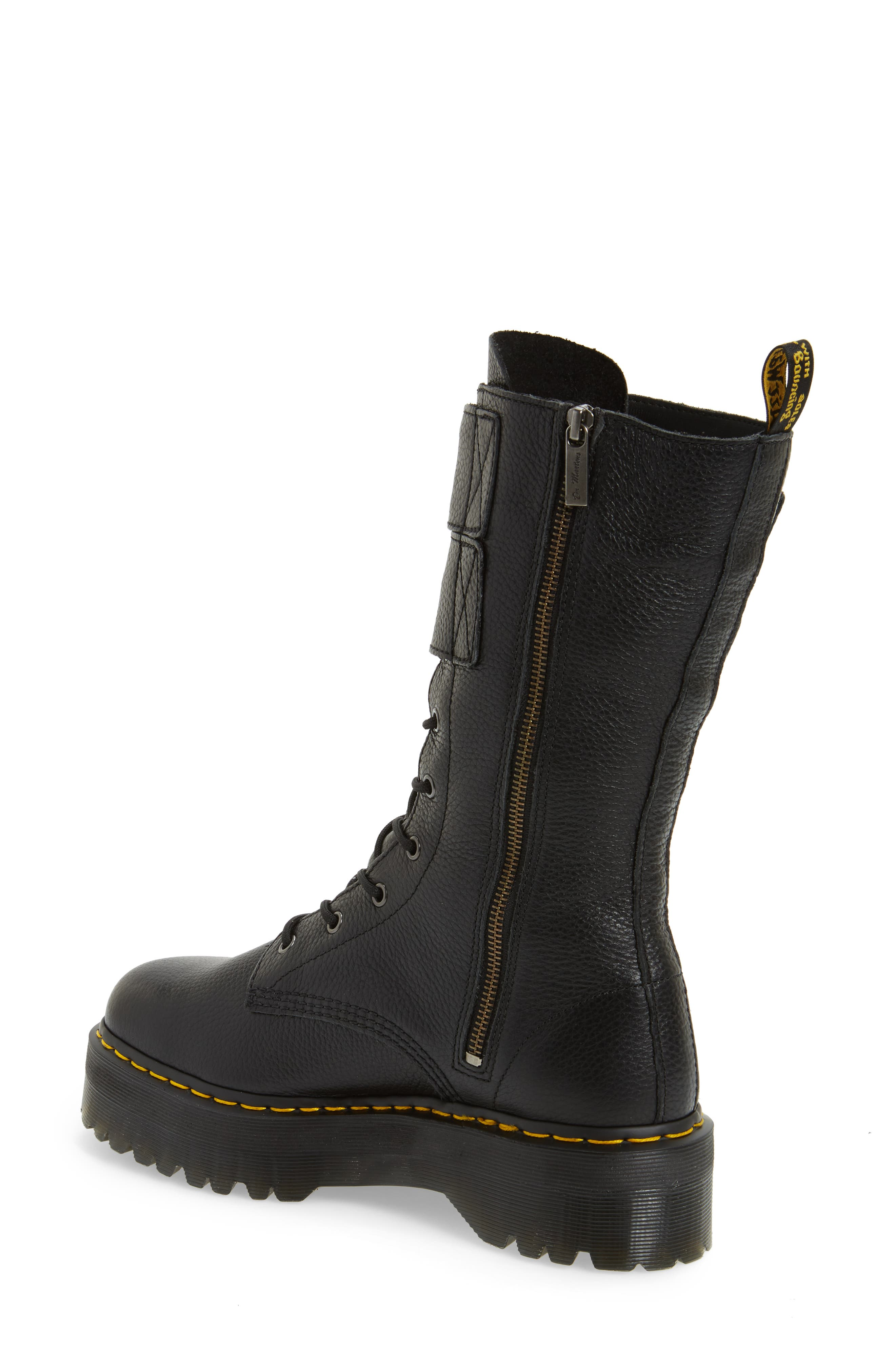 Jagger Combat Boot,                             Alternate thumbnail 2, color,                             Black Leather