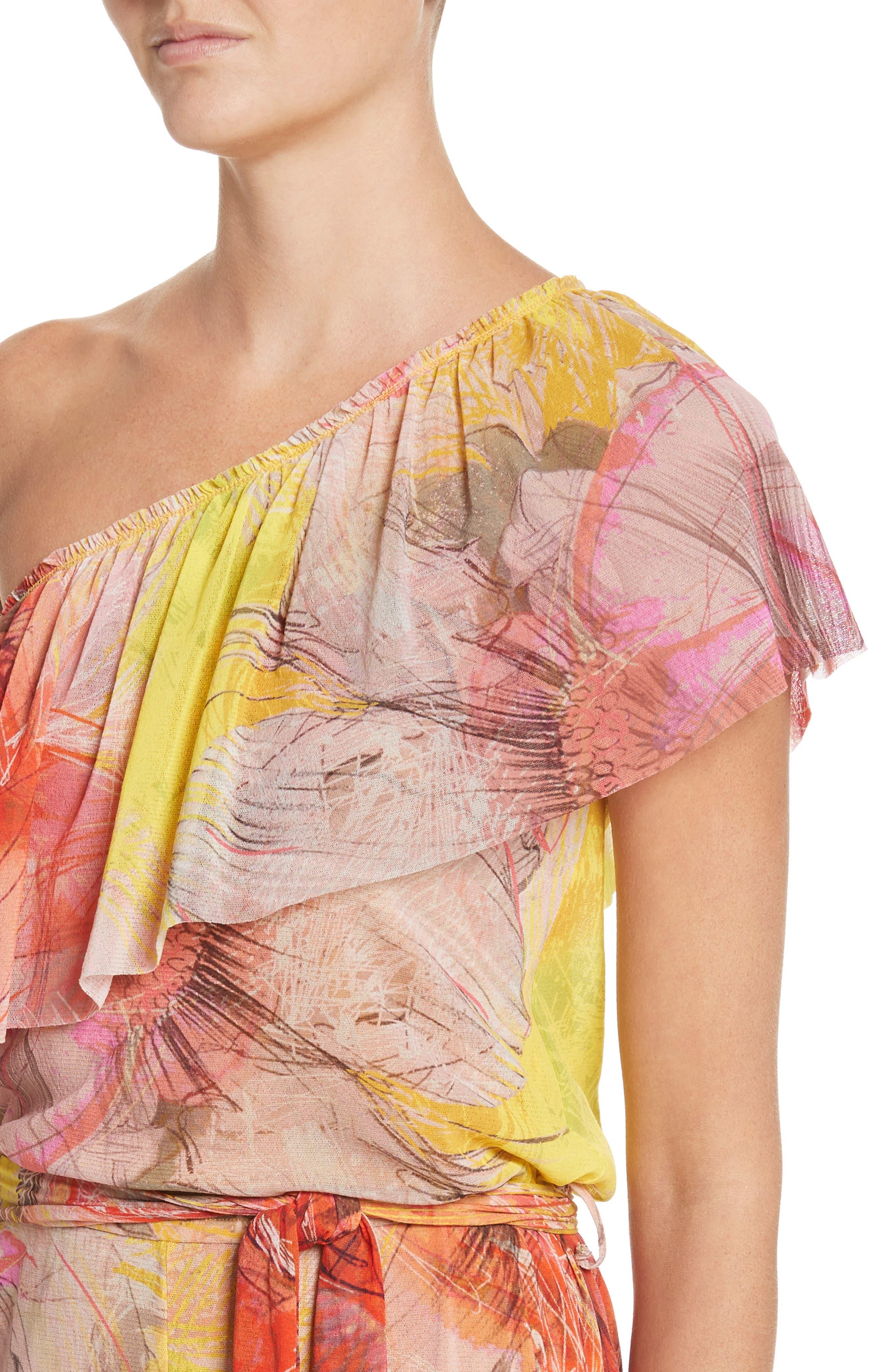 Print Tulle One-Shoulder Jumpsuit,                             Alternate thumbnail 4, color,                             Sole