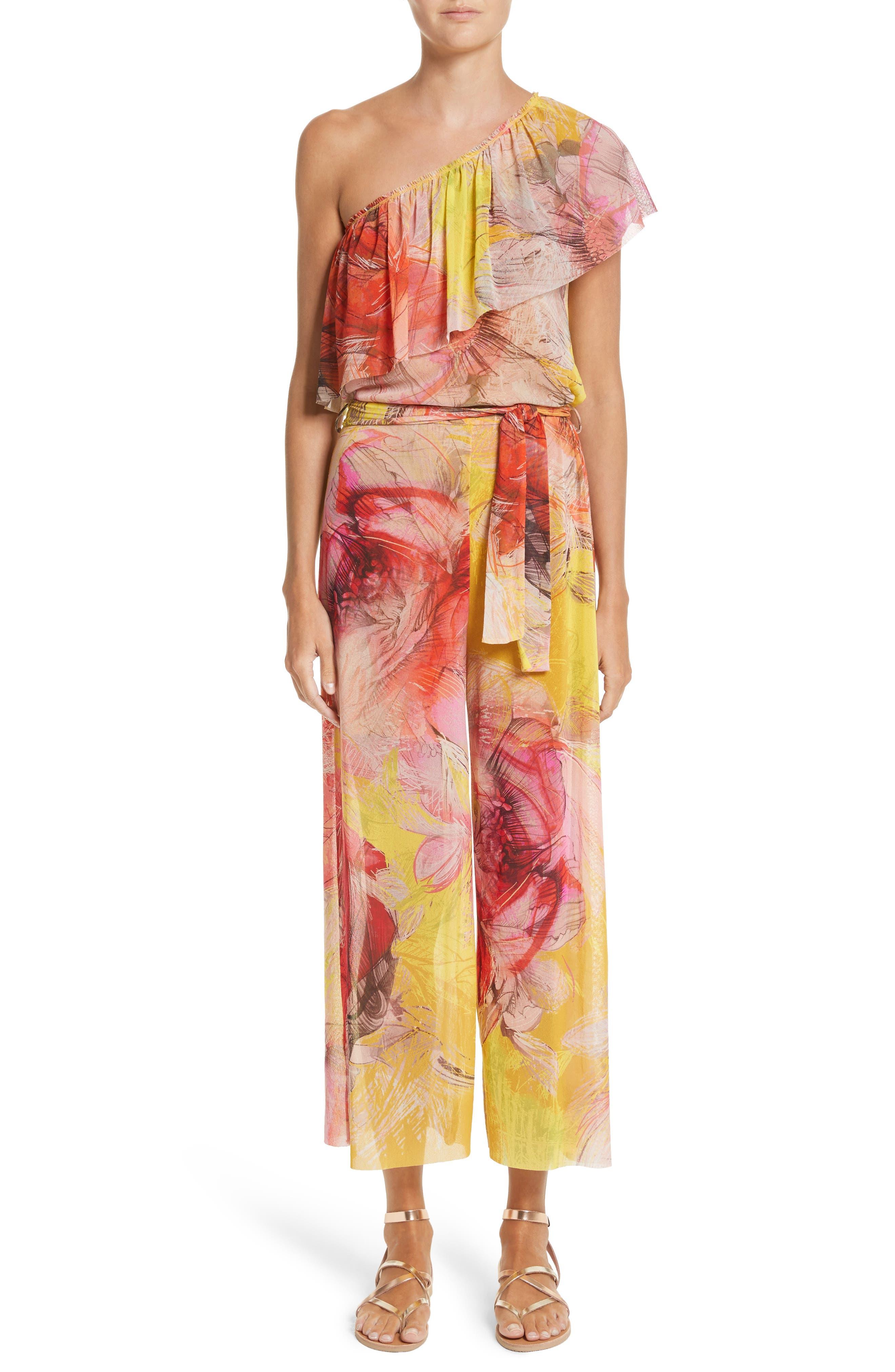 Print Tulle One-Shoulder Jumpsuit,                         Main,                         color, Sole
