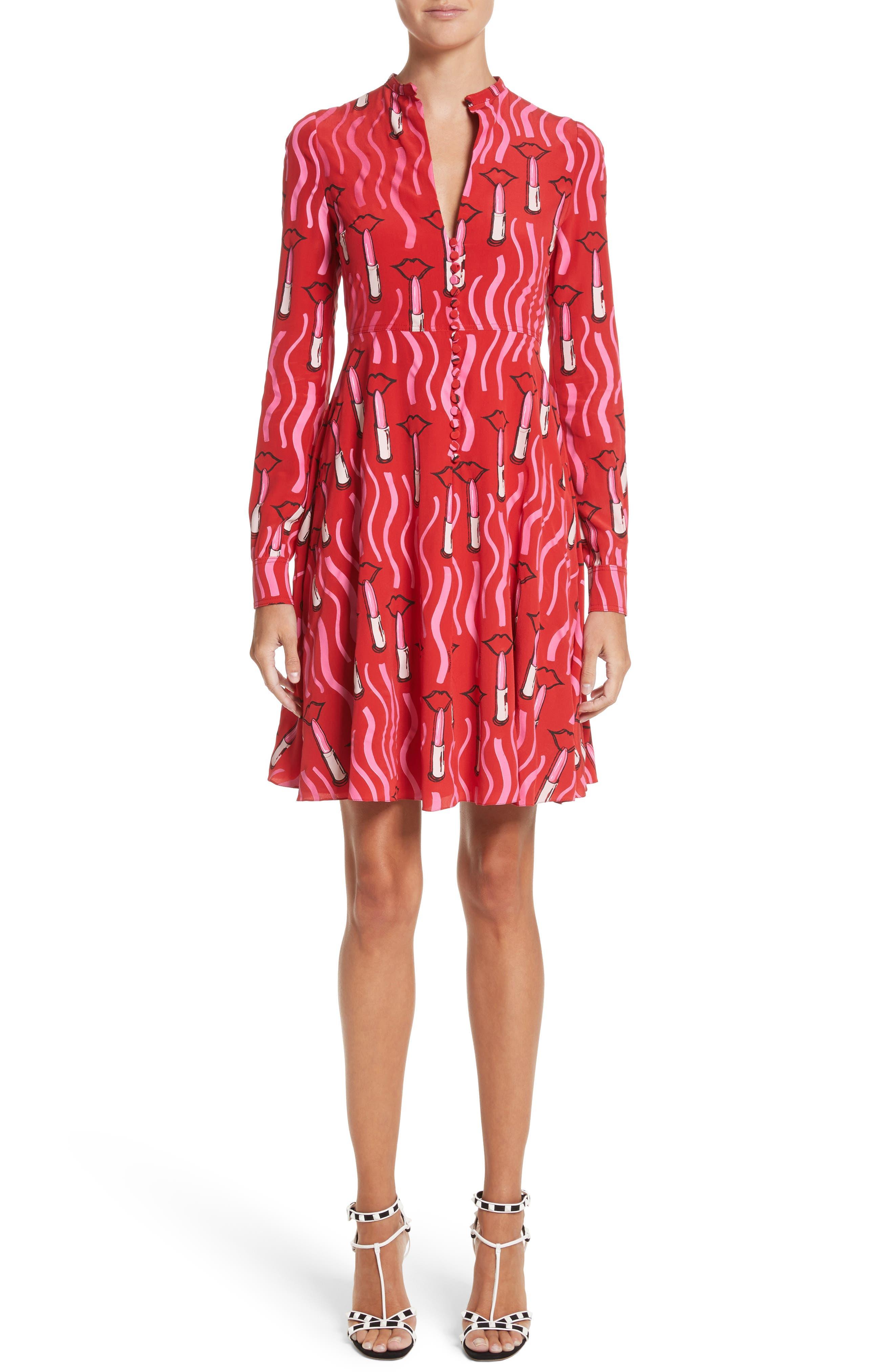Lipstick Print Silk Fit & Flare Dress,                         Main,                         color, Red Multi
