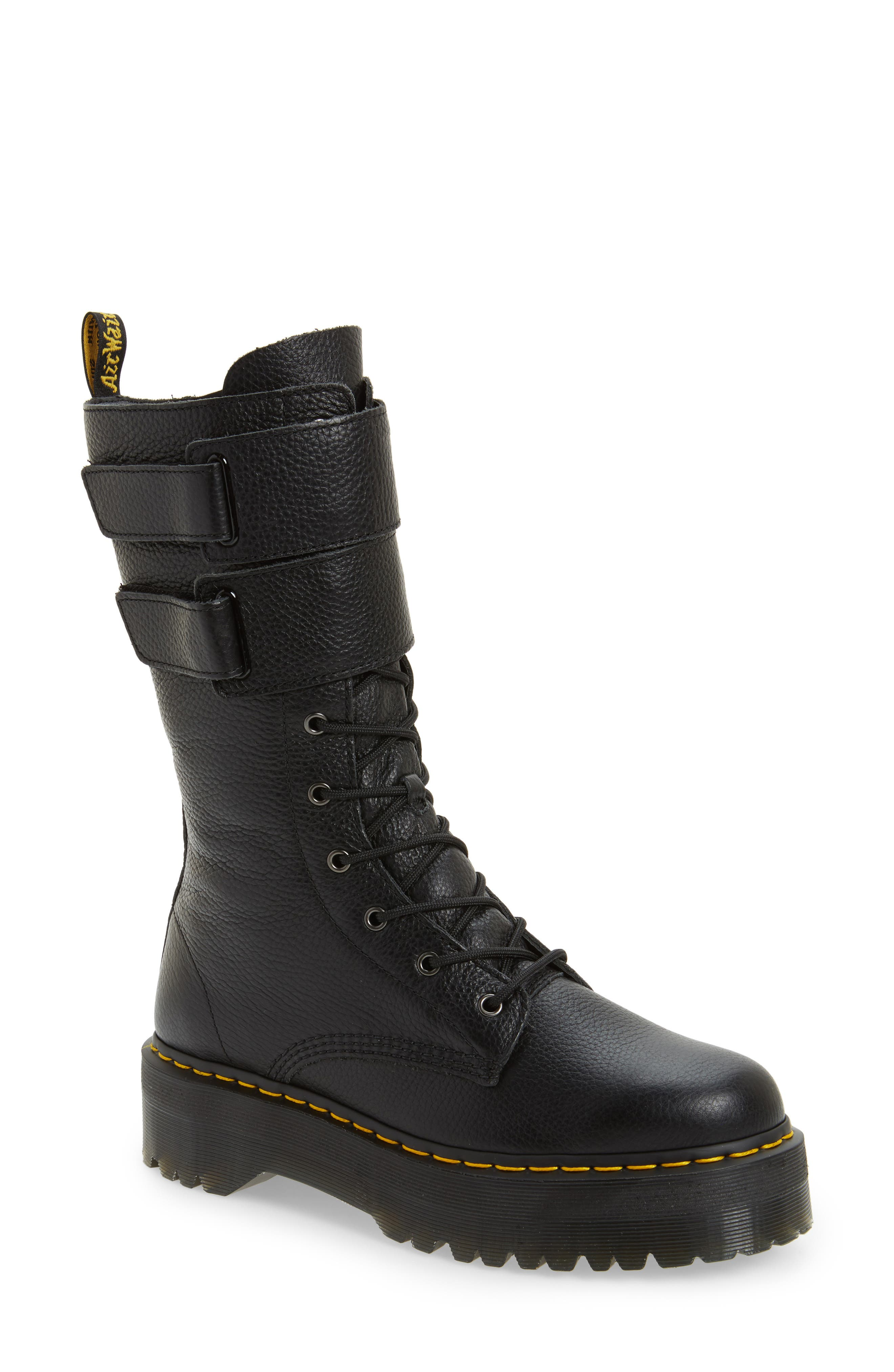 Jagger Combat Boot,                         Main,                         color, Black Leather