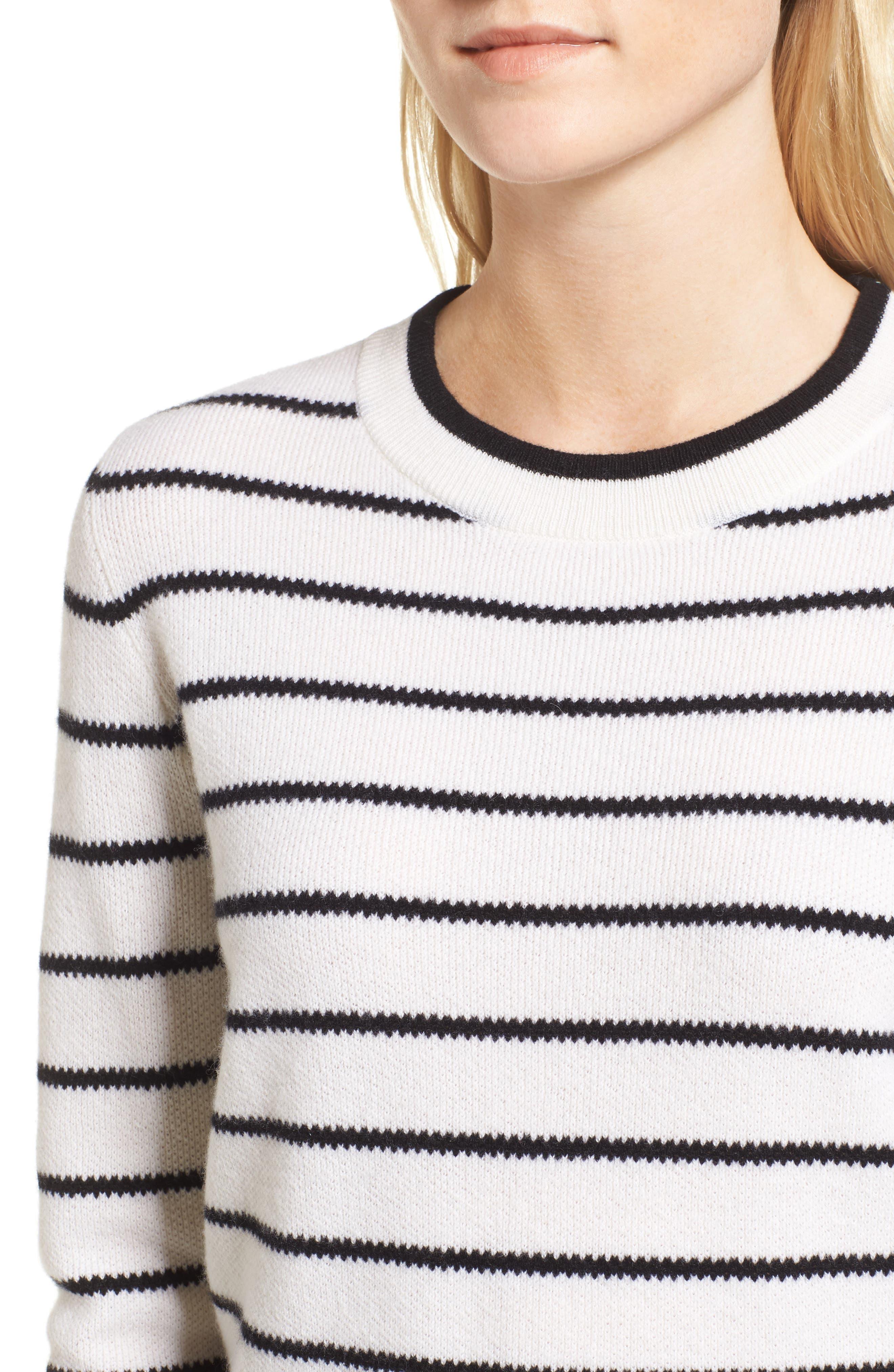 Stripe Cashmere Sweater,                             Alternate thumbnail 7, color,                             Ivory- Black Stripe