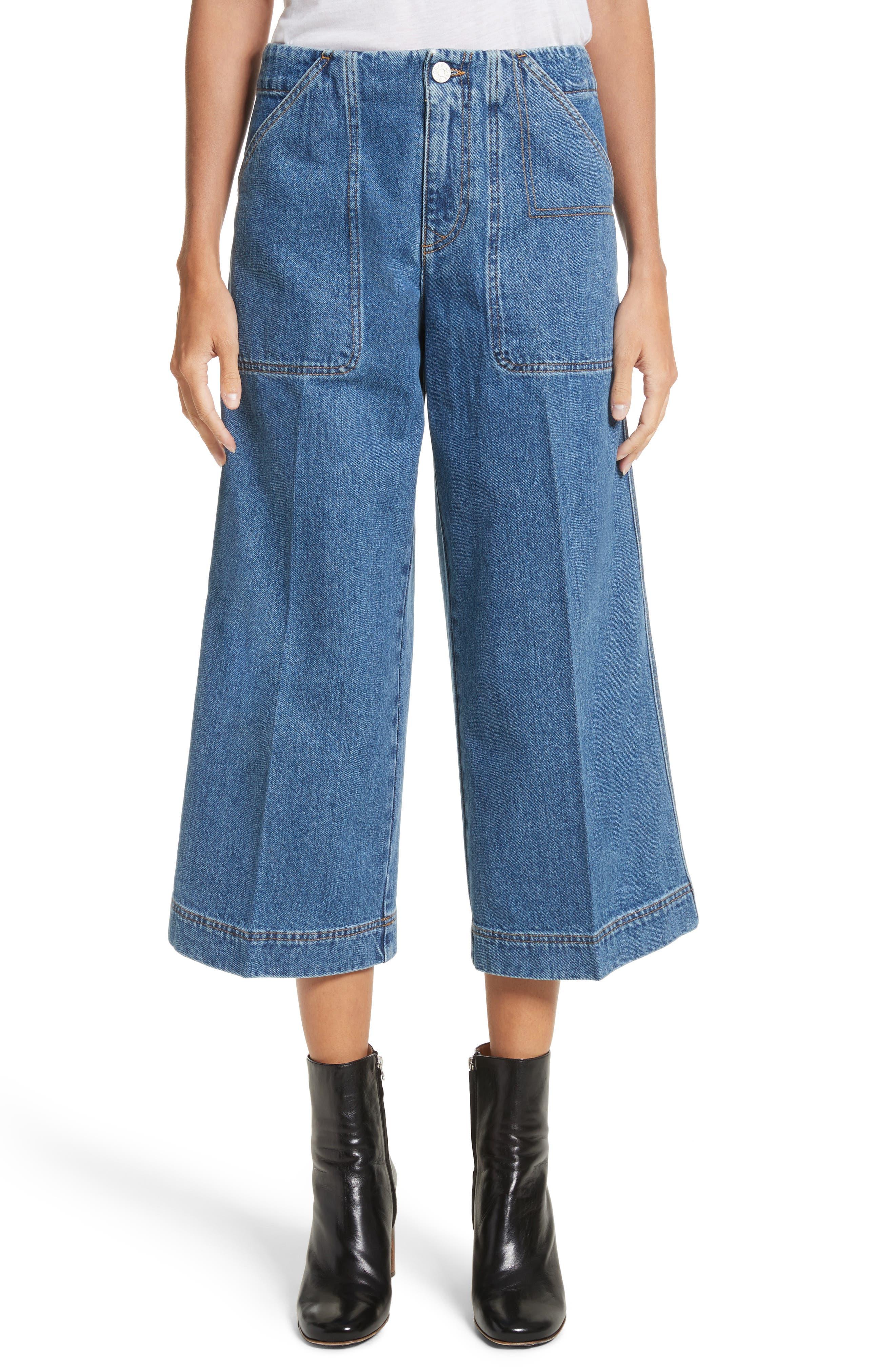 ACNE Studios Texa Wide Leg Crop Jeans (Mid Vintage)