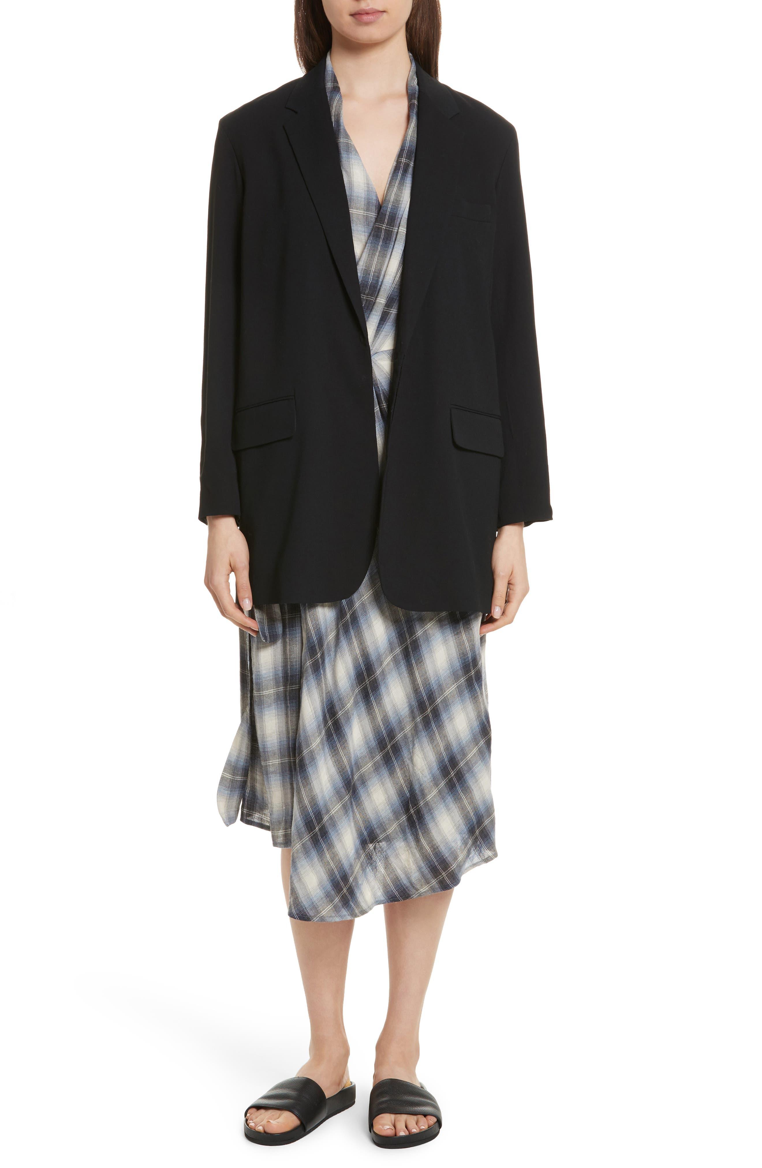 Alternate Image 7  - Vince Shadow Plaid Sleeveless Wrap Dress
