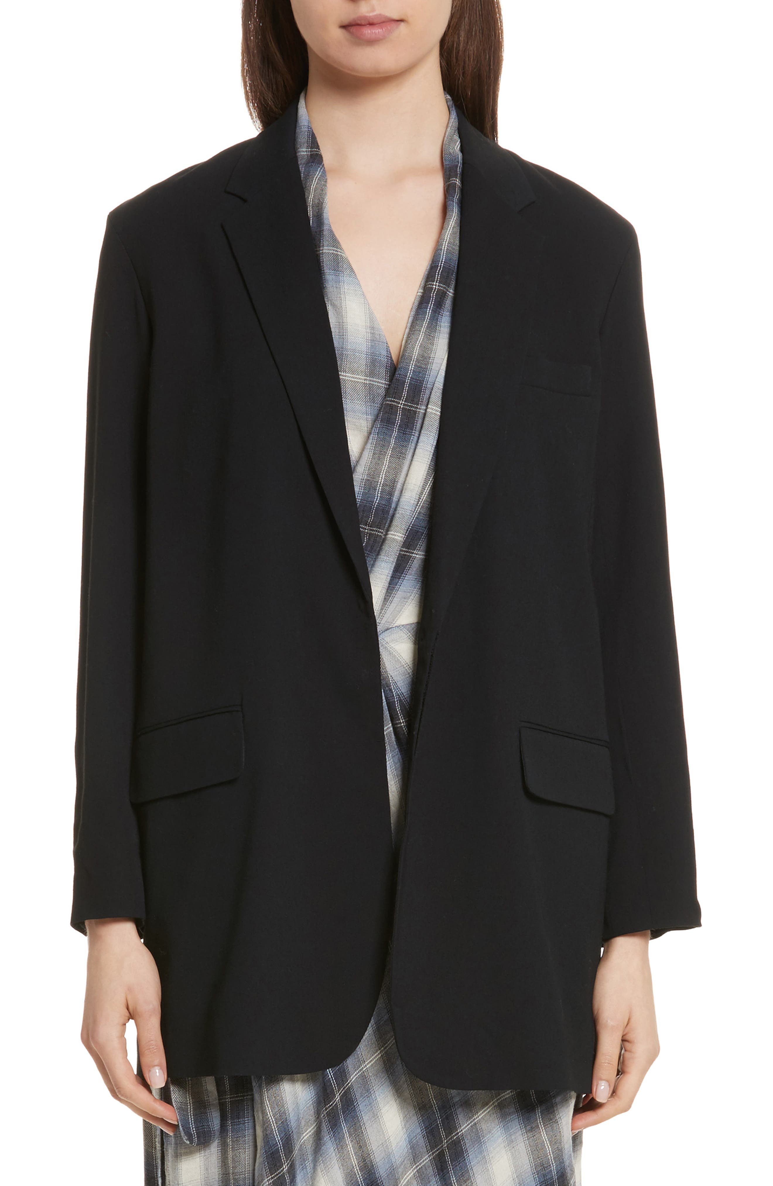 Soft Blazer,                             Main thumbnail 1, color,                             Black