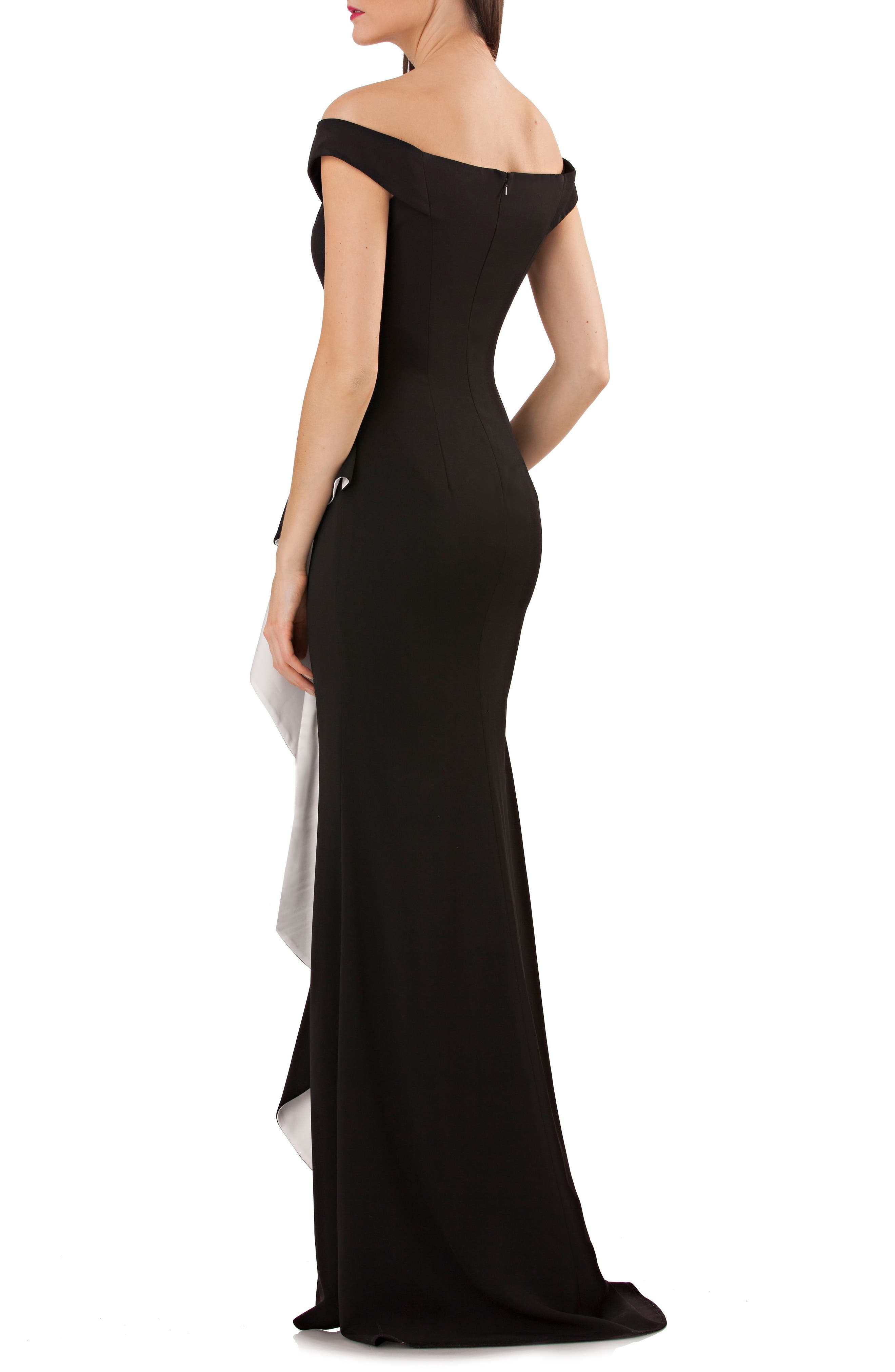 Ruffle Off the Shoulder Gown,                             Alternate thumbnail 2, color,                             Black/ White