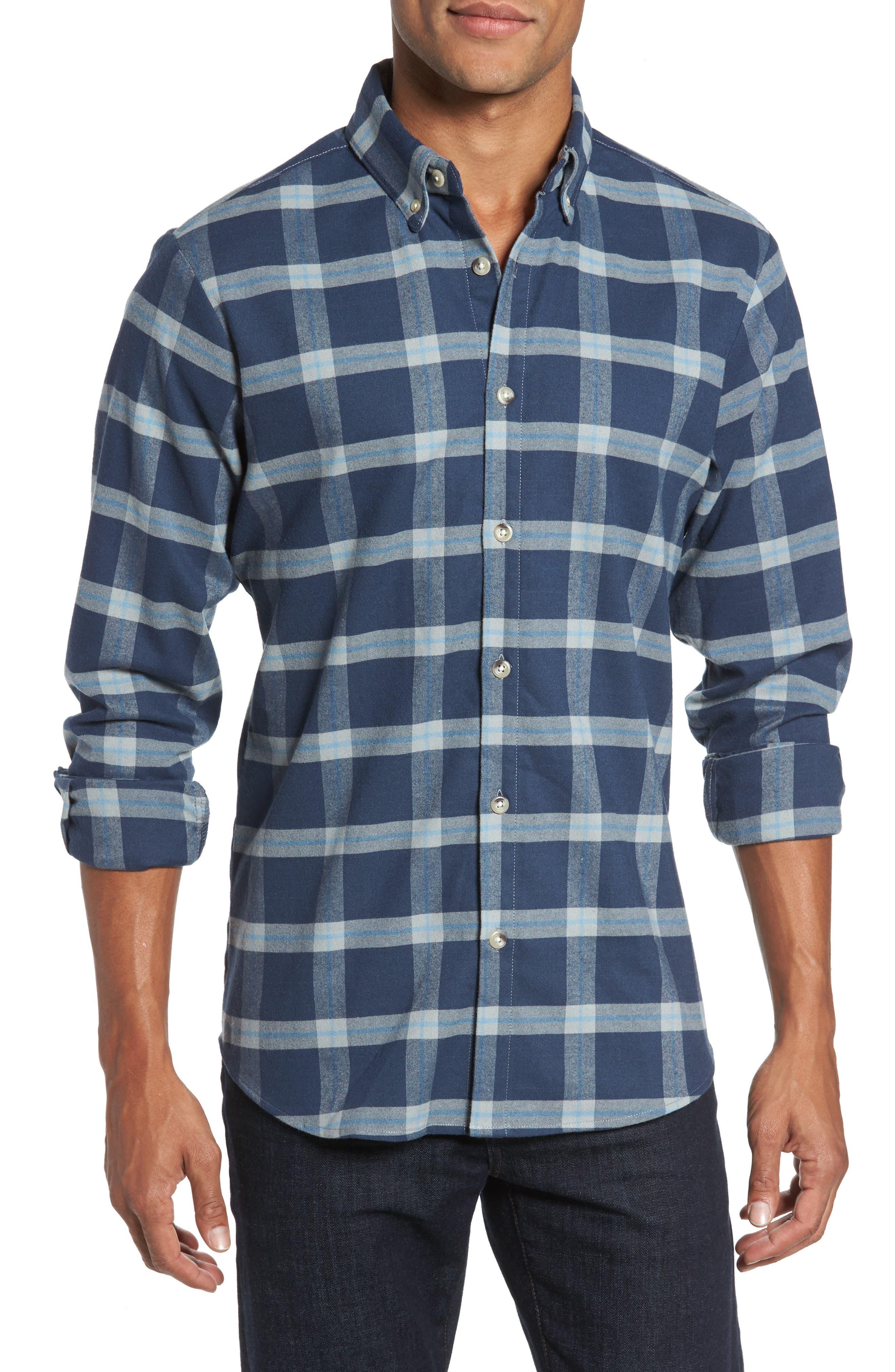 Fairview Slim Fit Plaid Flannel Sport Shirt,                         Main,                         color, Blue