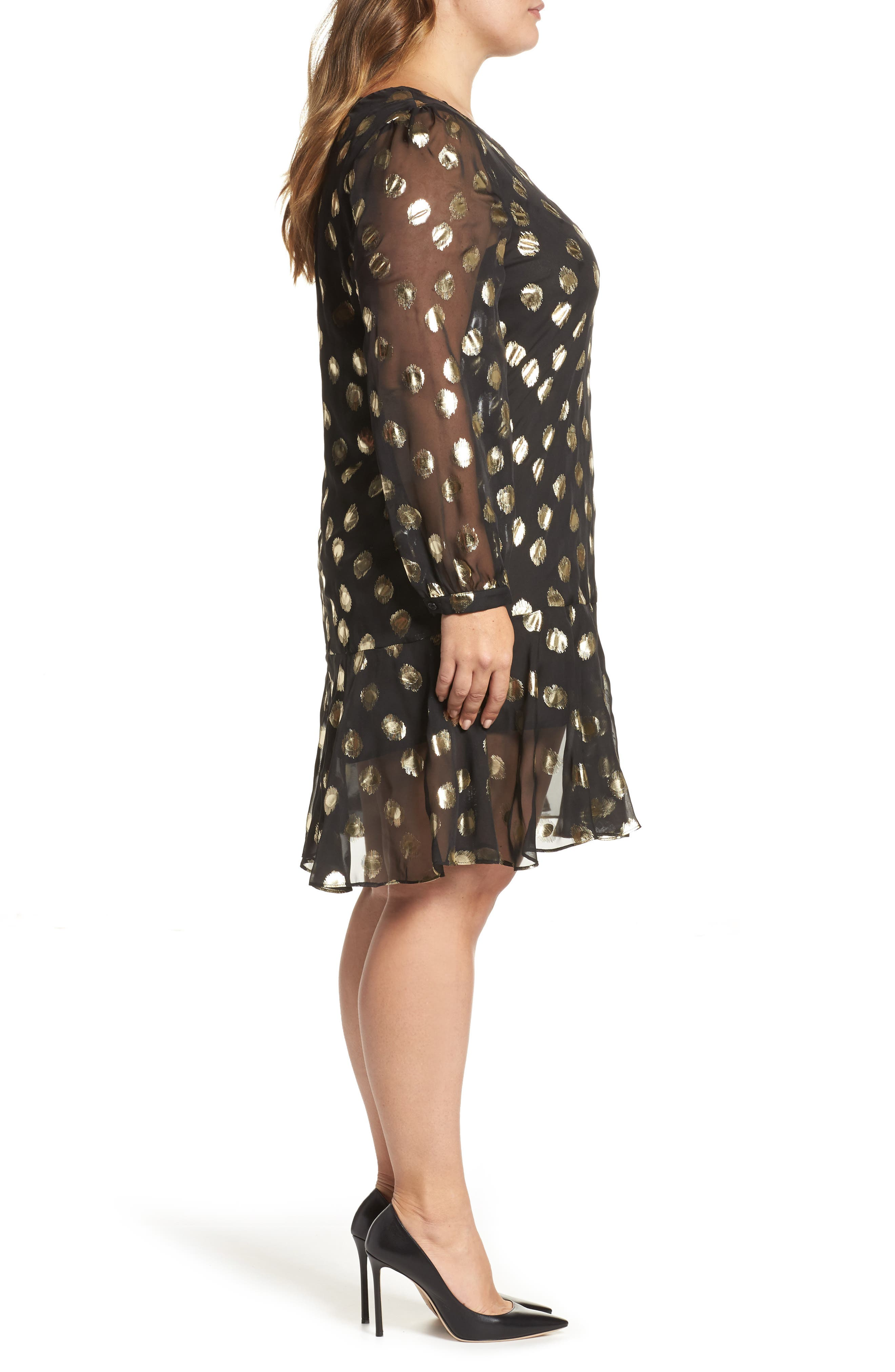 Metallic Dot Drop Waist Dress,                             Alternate thumbnail 4, color,                             Black Gold Spot