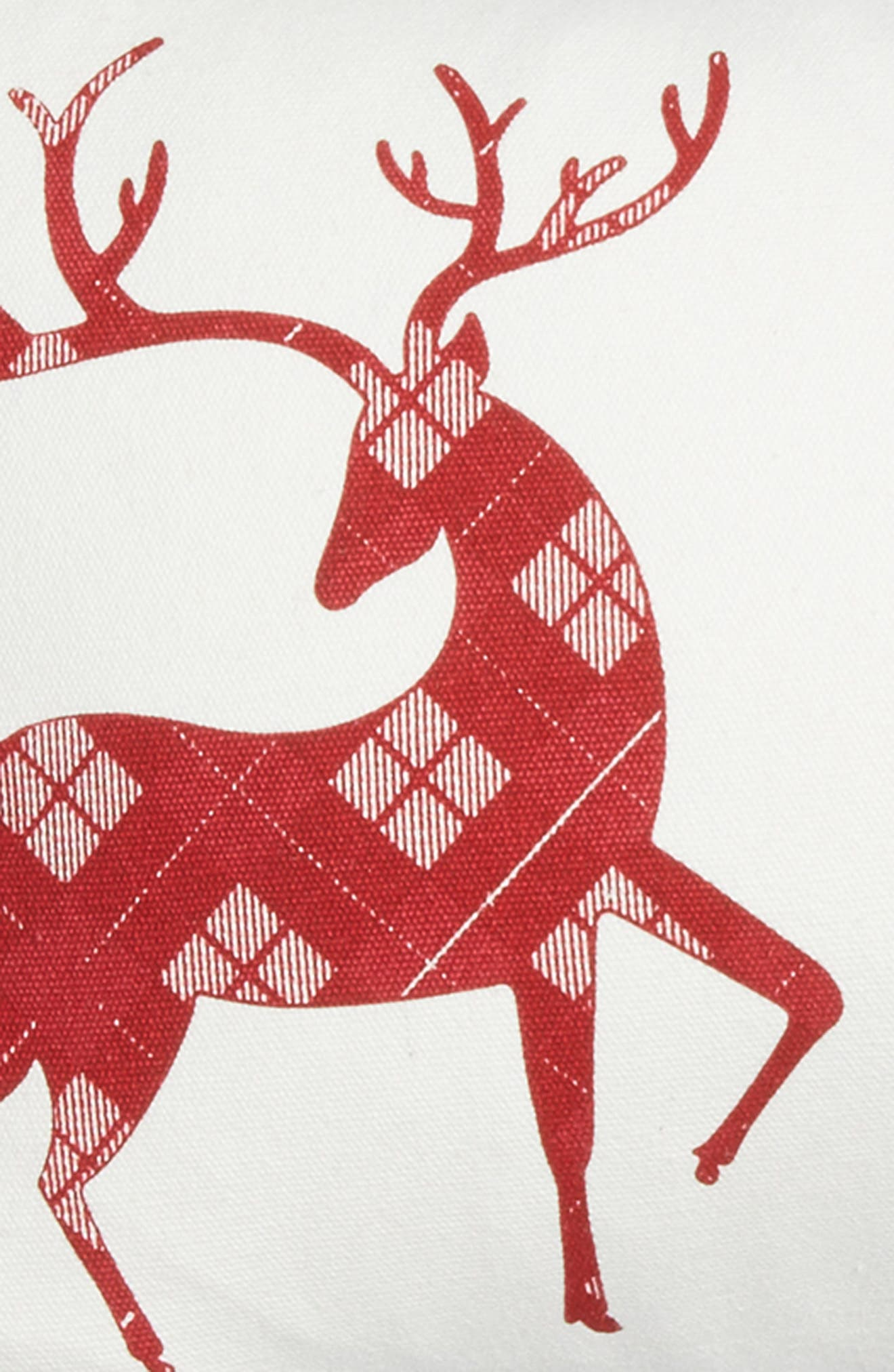 Three Reindeer Accent Pillow,                             Alternate thumbnail 3, color,                             White