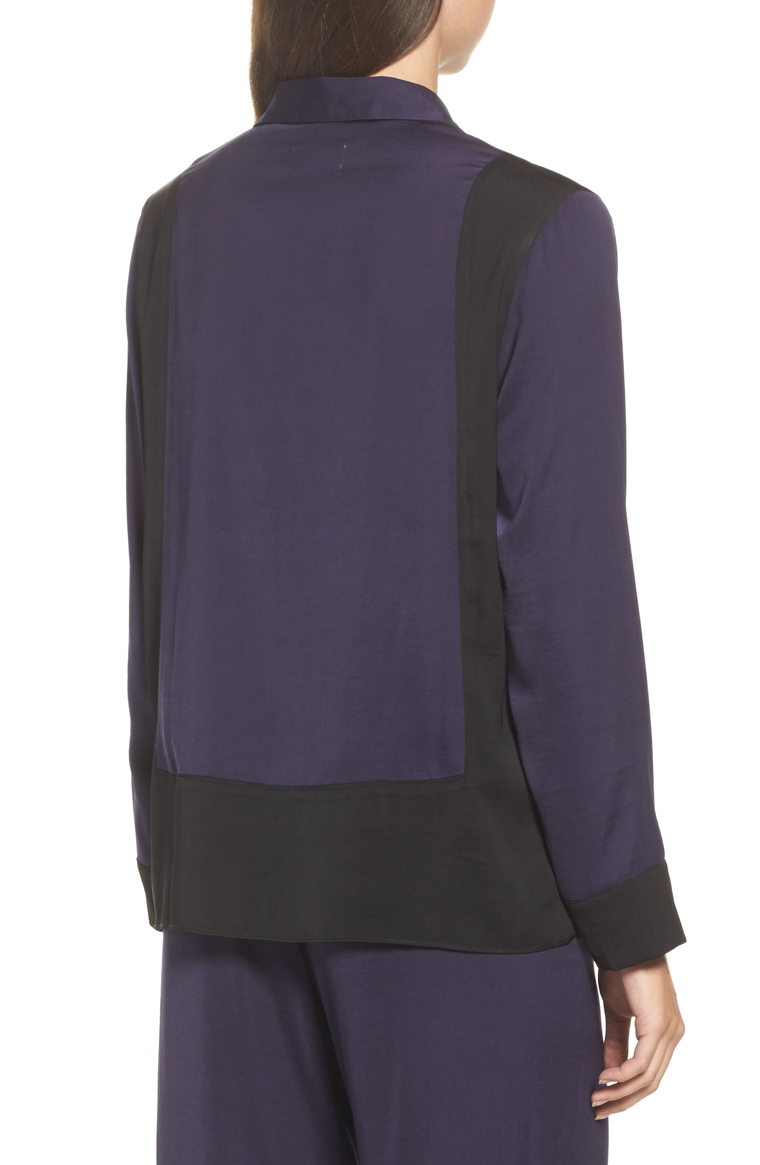 Colorblock Washed Satin Top,                             Alternate thumbnail 2, color,                             Plum