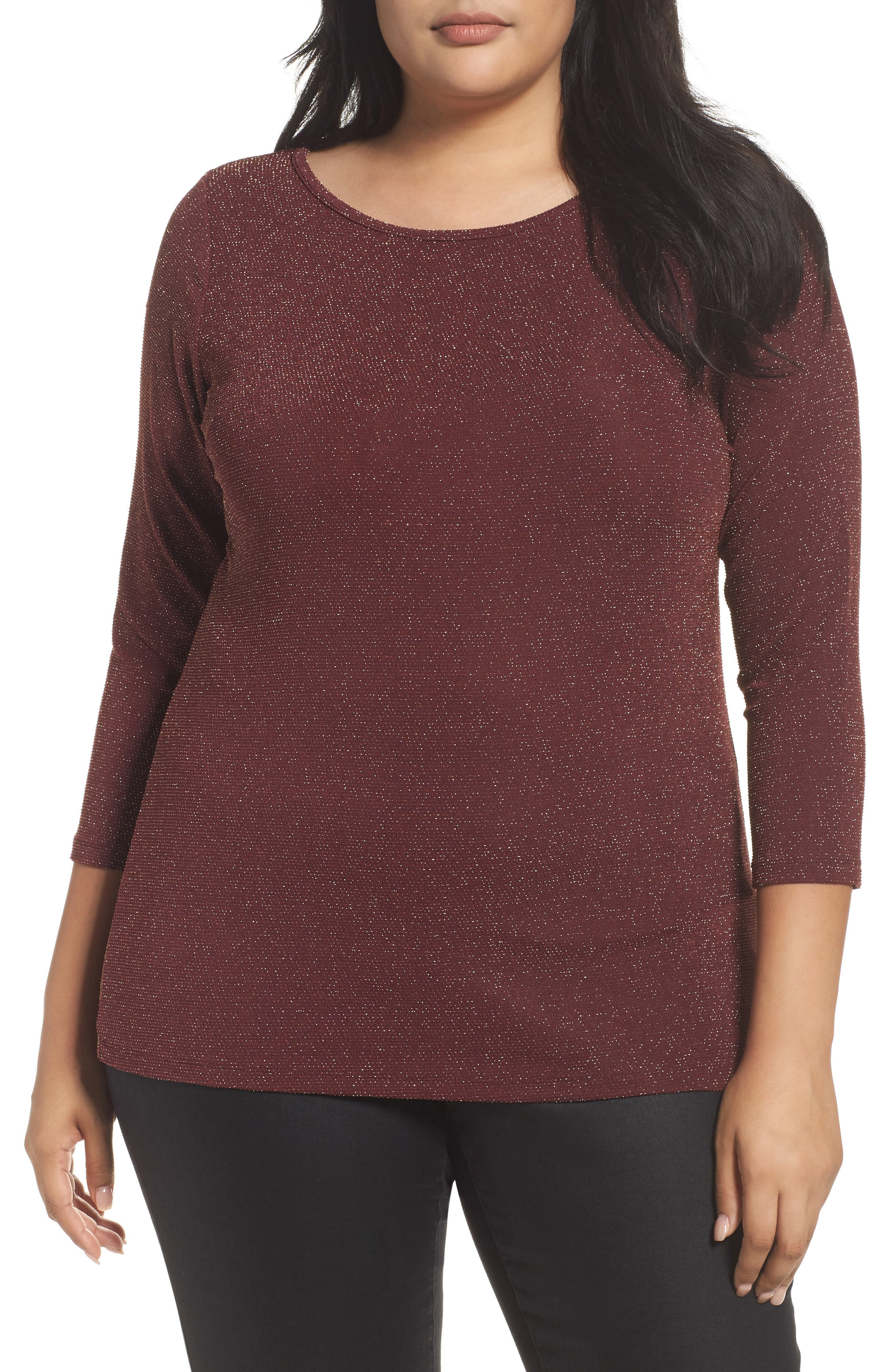 Metallic Top,                         Main,                         color, Merlot