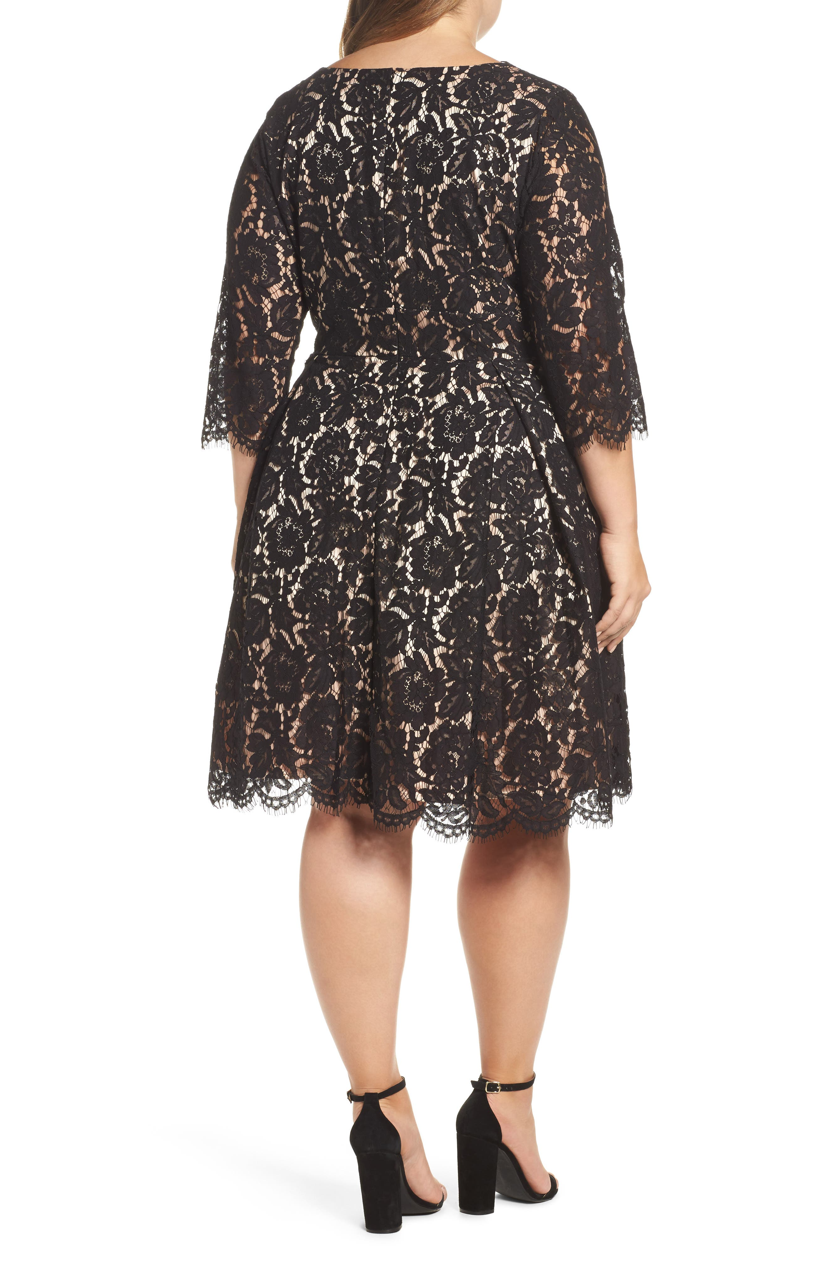 Lace Fit & Flare Dress,                             Alternate thumbnail 2, color,                             Black