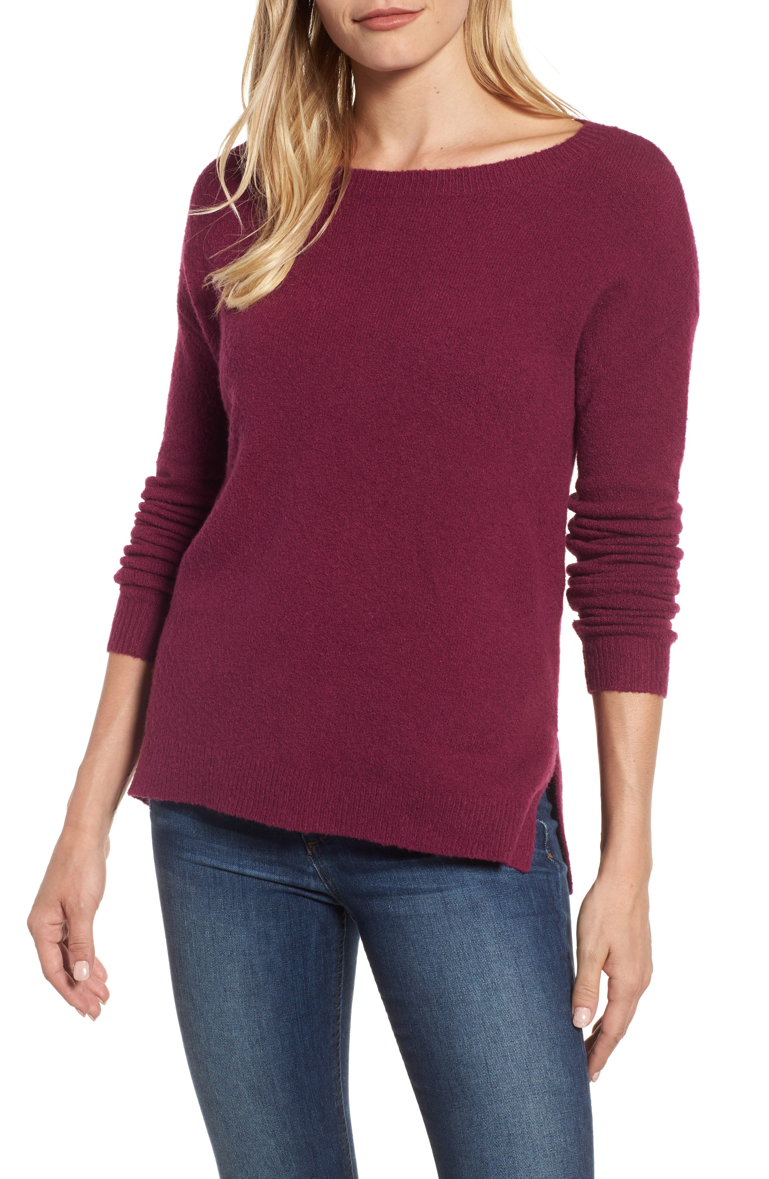 Caslon® Back Zip High/Low Sweater (Regular & Petite)