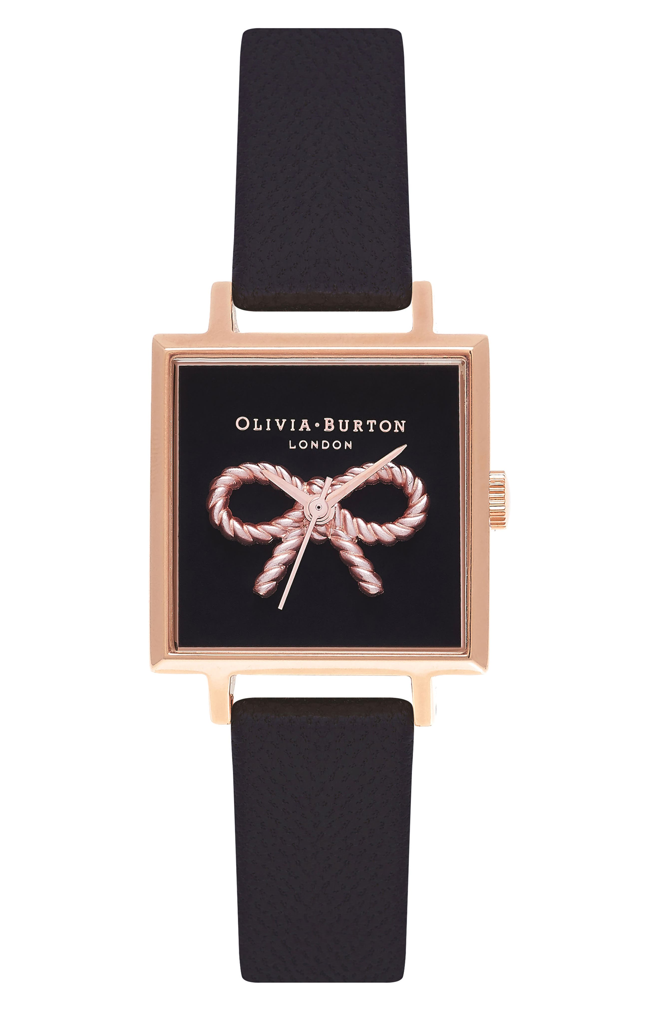 Alternate Image 1 Selected - Olivia Burton Vintage Bow Square Leather Strap Watch, 30mm