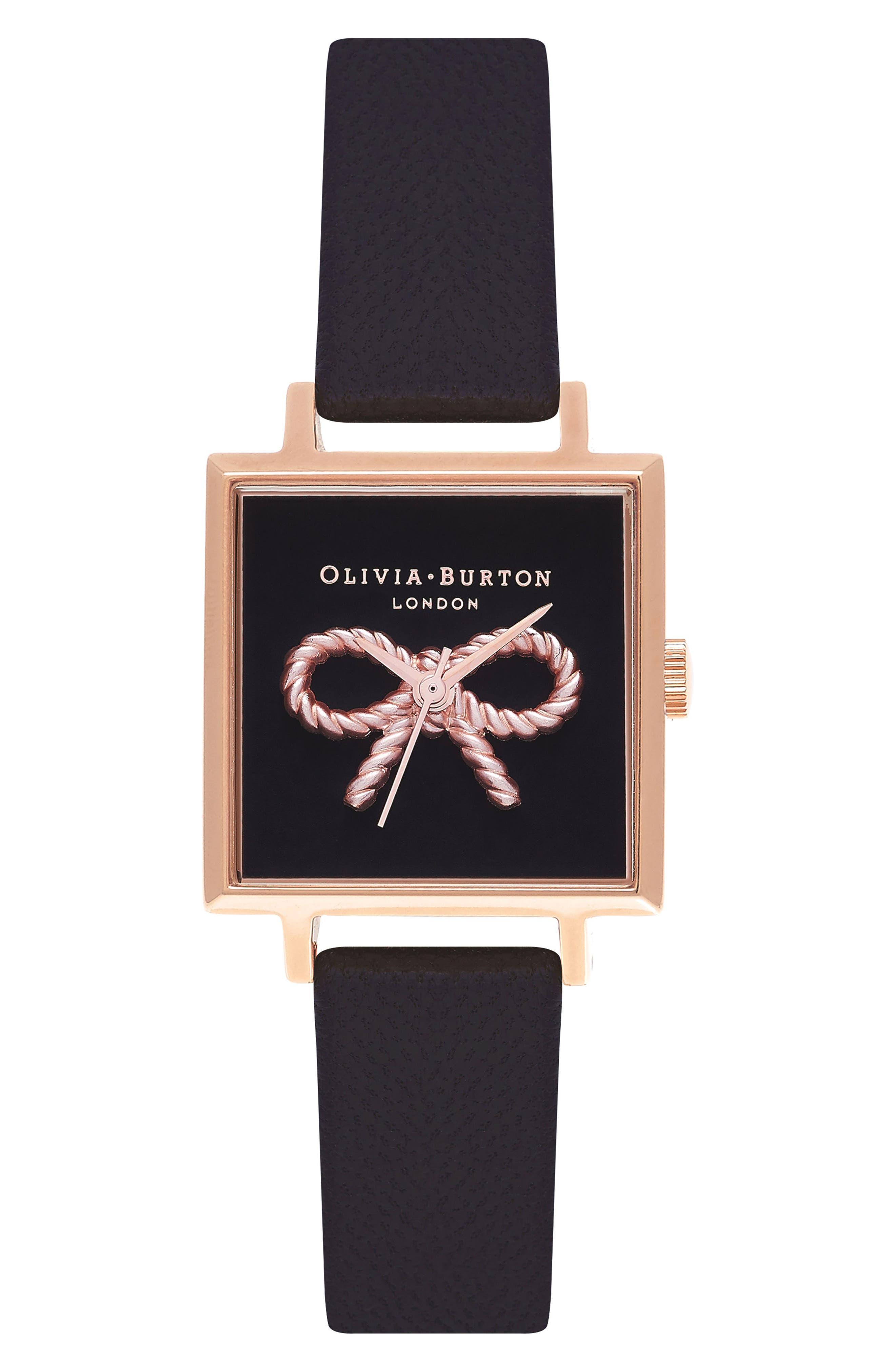 Main Image - Olivia Burton Vintage Bow Square Leather Strap Watch, 30mm
