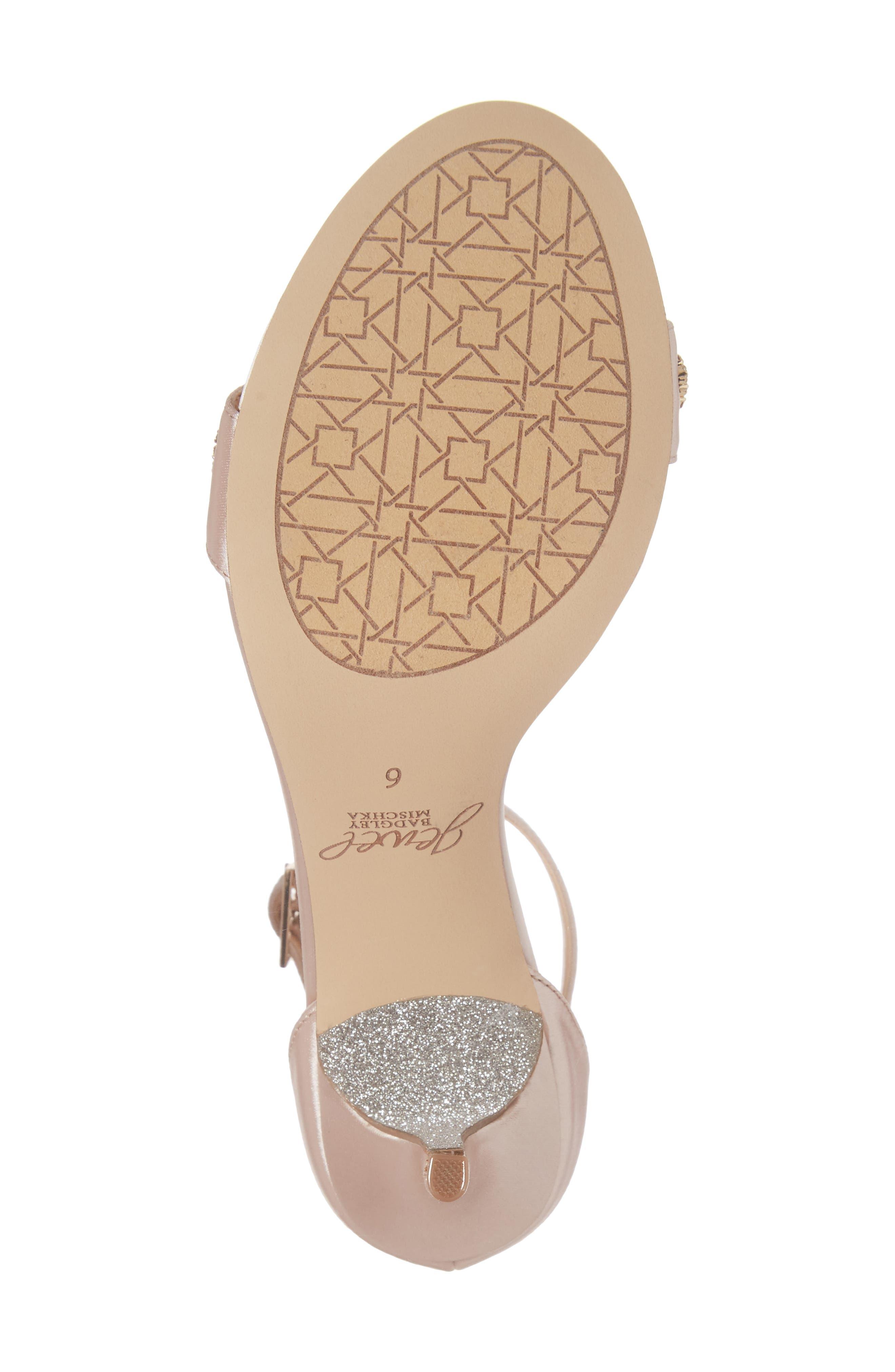 Alana Ankle Strap Sandal,                             Alternate thumbnail 6, color,                             Champagne Satin