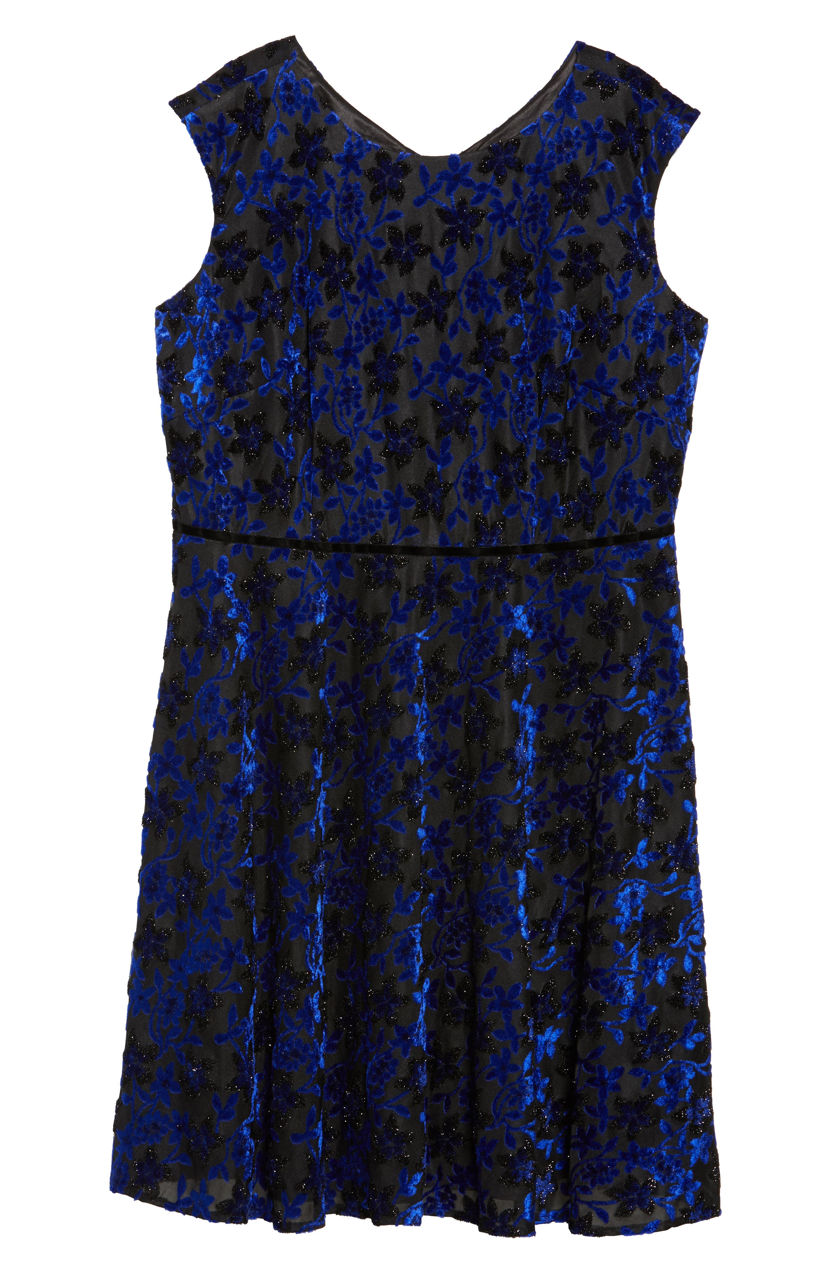 Alternate Image 6  - Tahari Burnout Velvet Fit & Flare Dress (Plus Size)