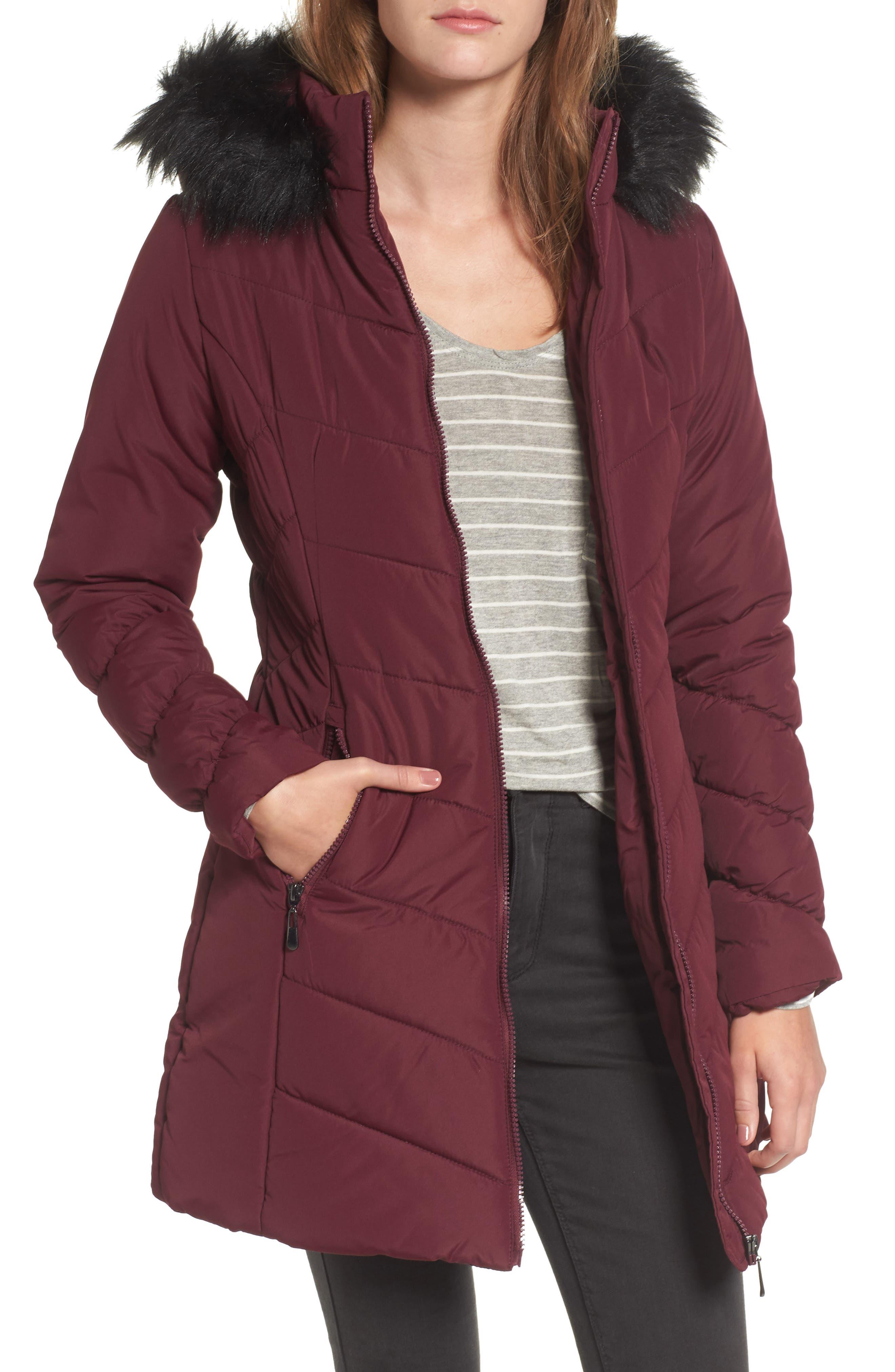 Faux Fur Trim Hooded Puffer Jacket,                         Main,                         color, Zinfandel
