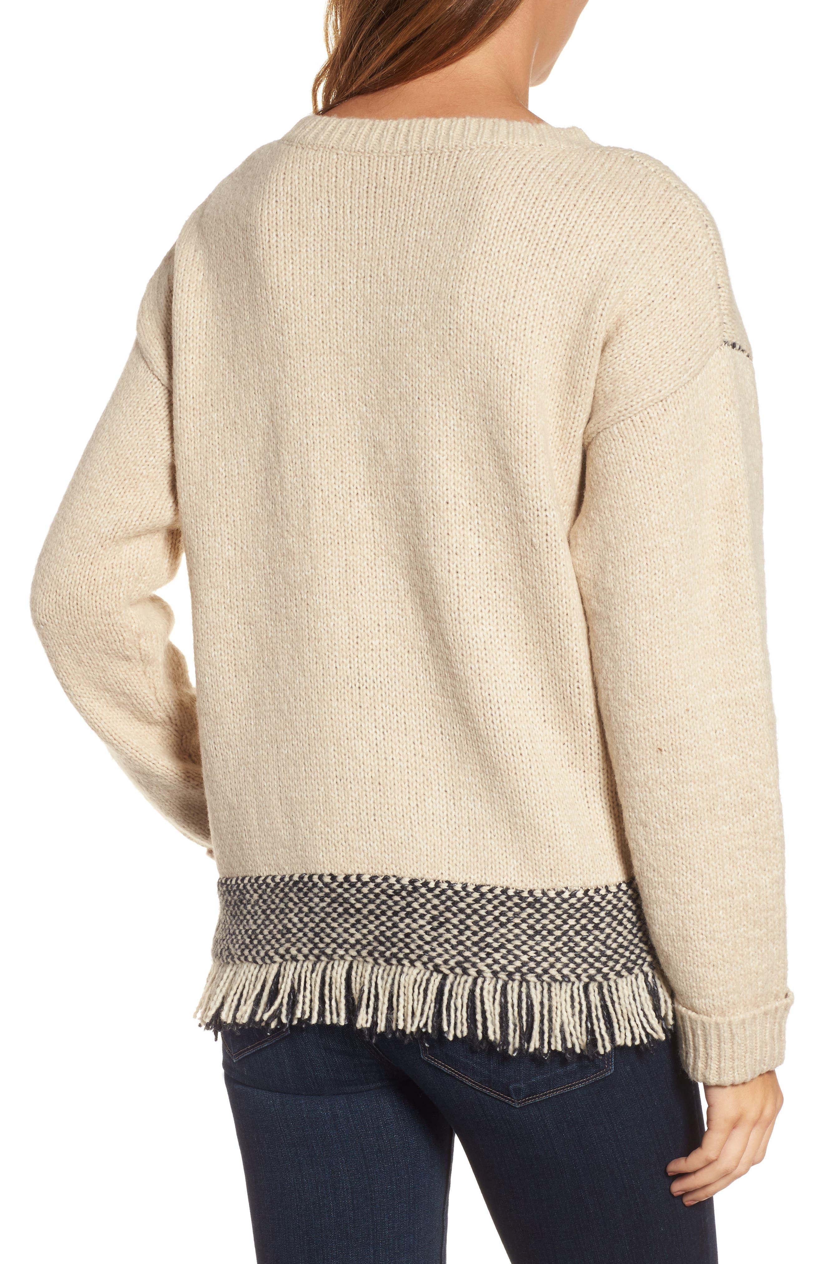 Fringe Sweater,                             Alternate thumbnail 2, color,                             Husked Tan