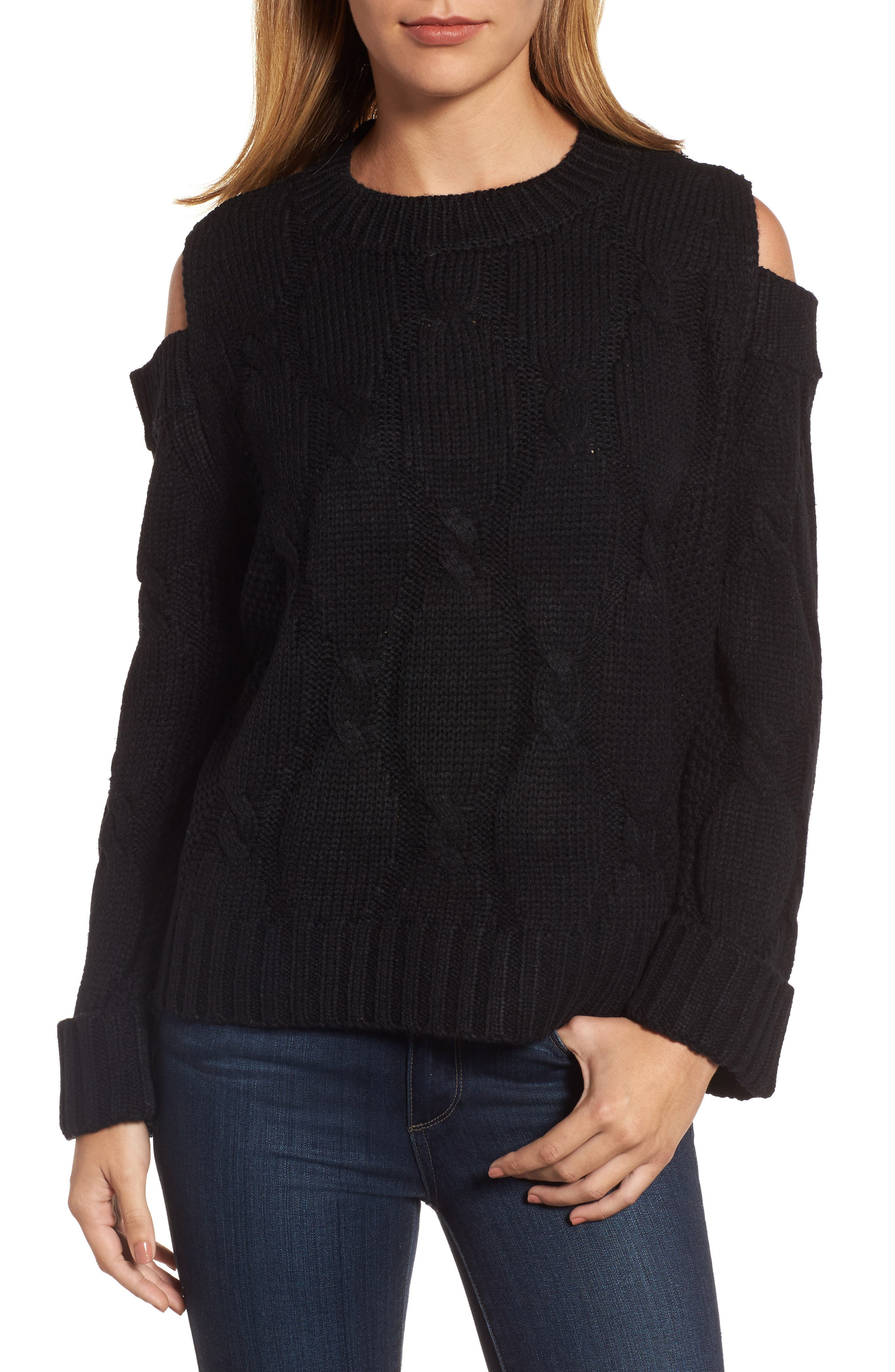 Cold Shoulder Cable Sweater,                             Main thumbnail 1, color,                             Black