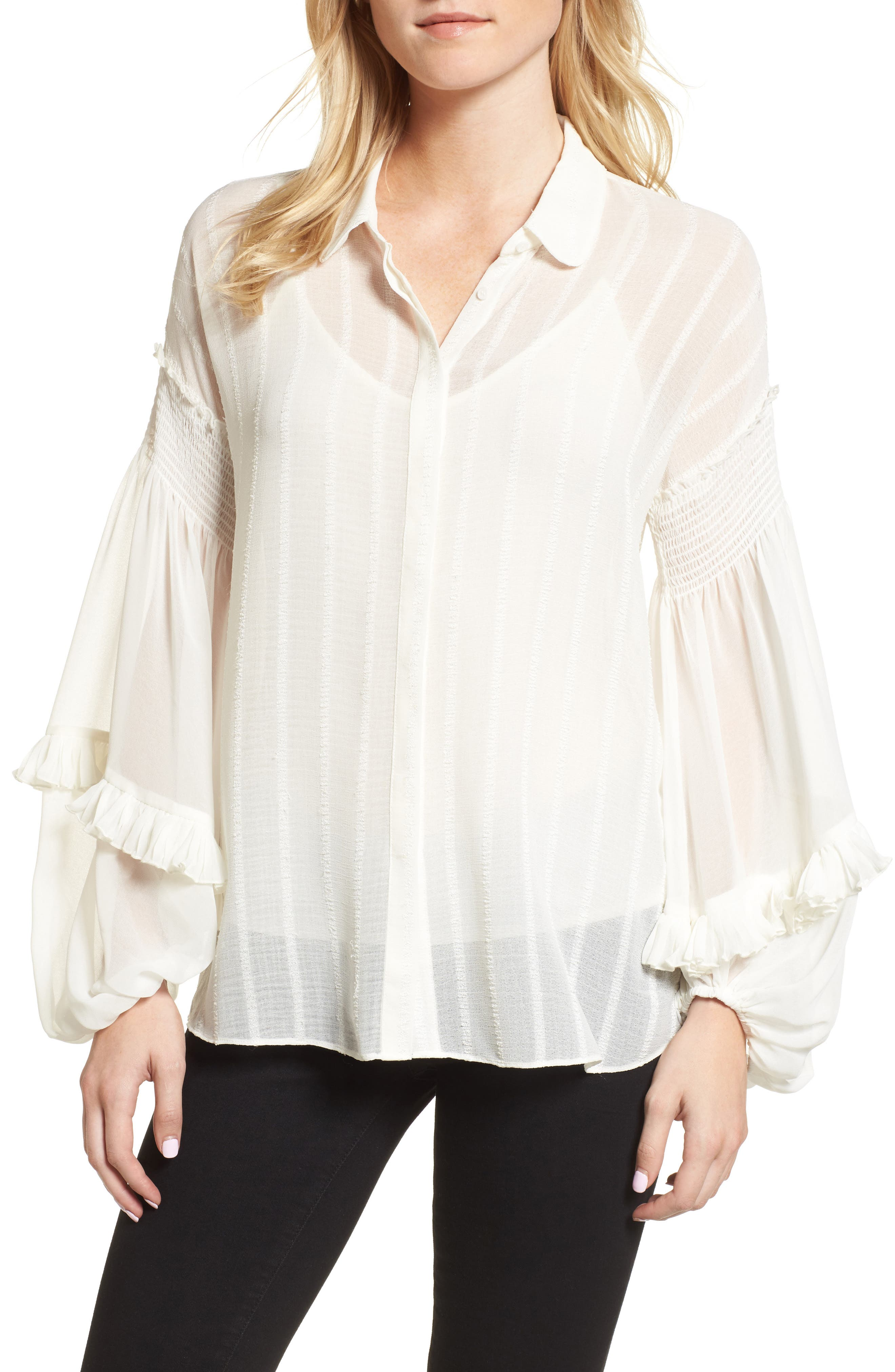 Bloused Sleeve Shirt,                         Main,                         color, Ivory Cloud