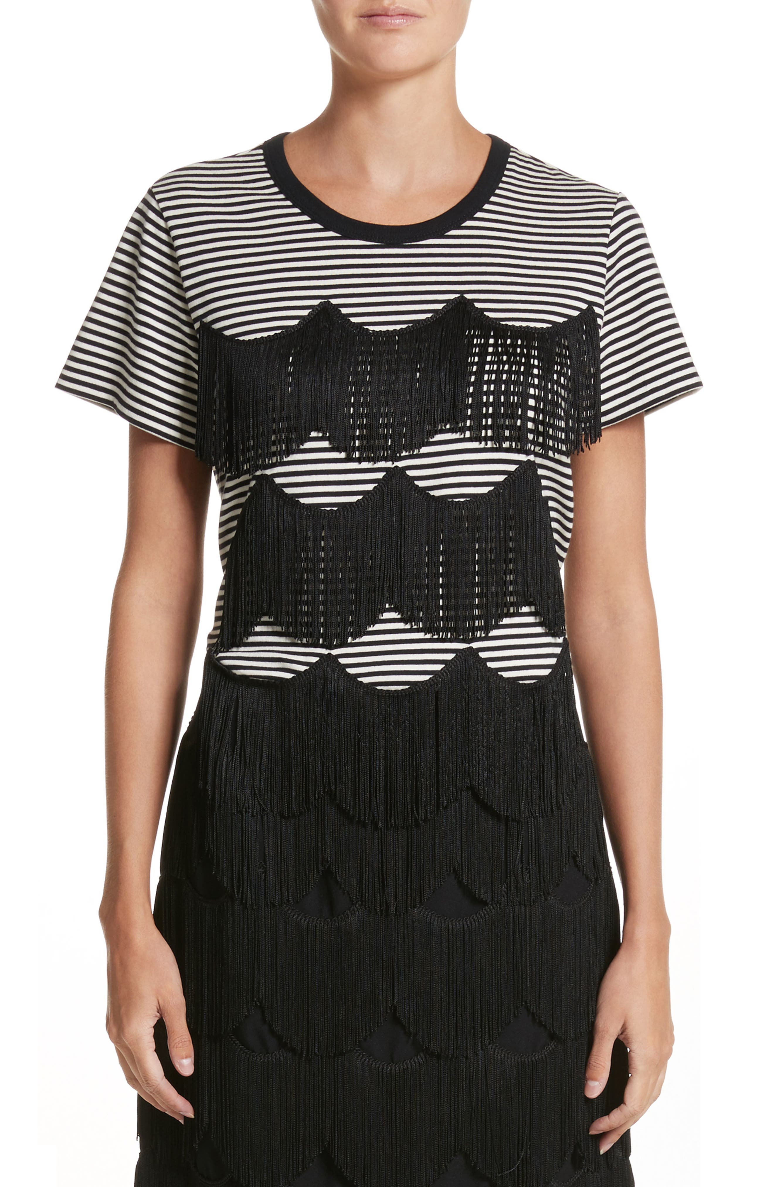 Fringe Stripe Tee,                         Main,                         color, Black/ Ivory