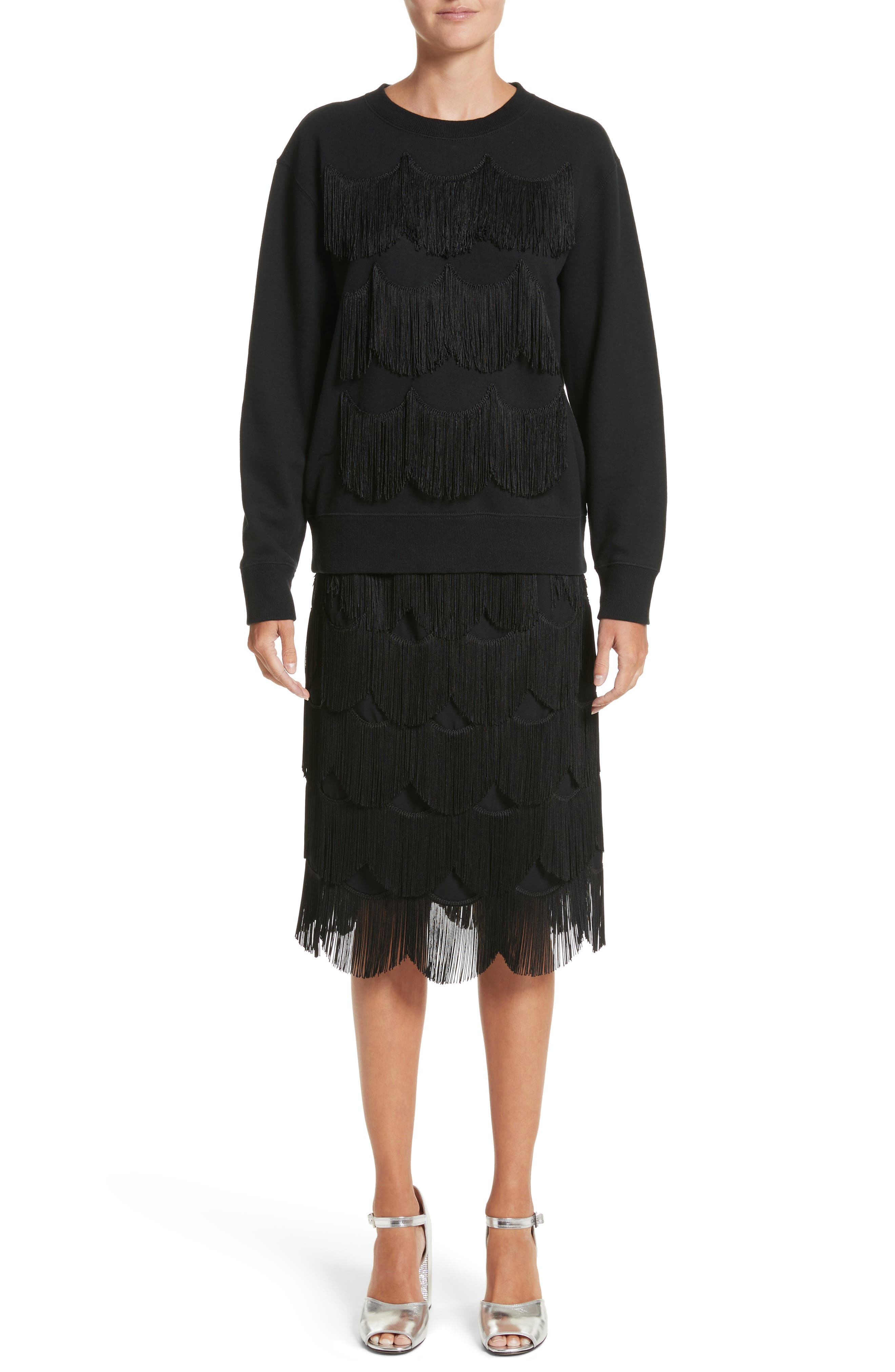 Alternate Image 7  - MARC JACOBS Fringe Cotton Sweatshirt