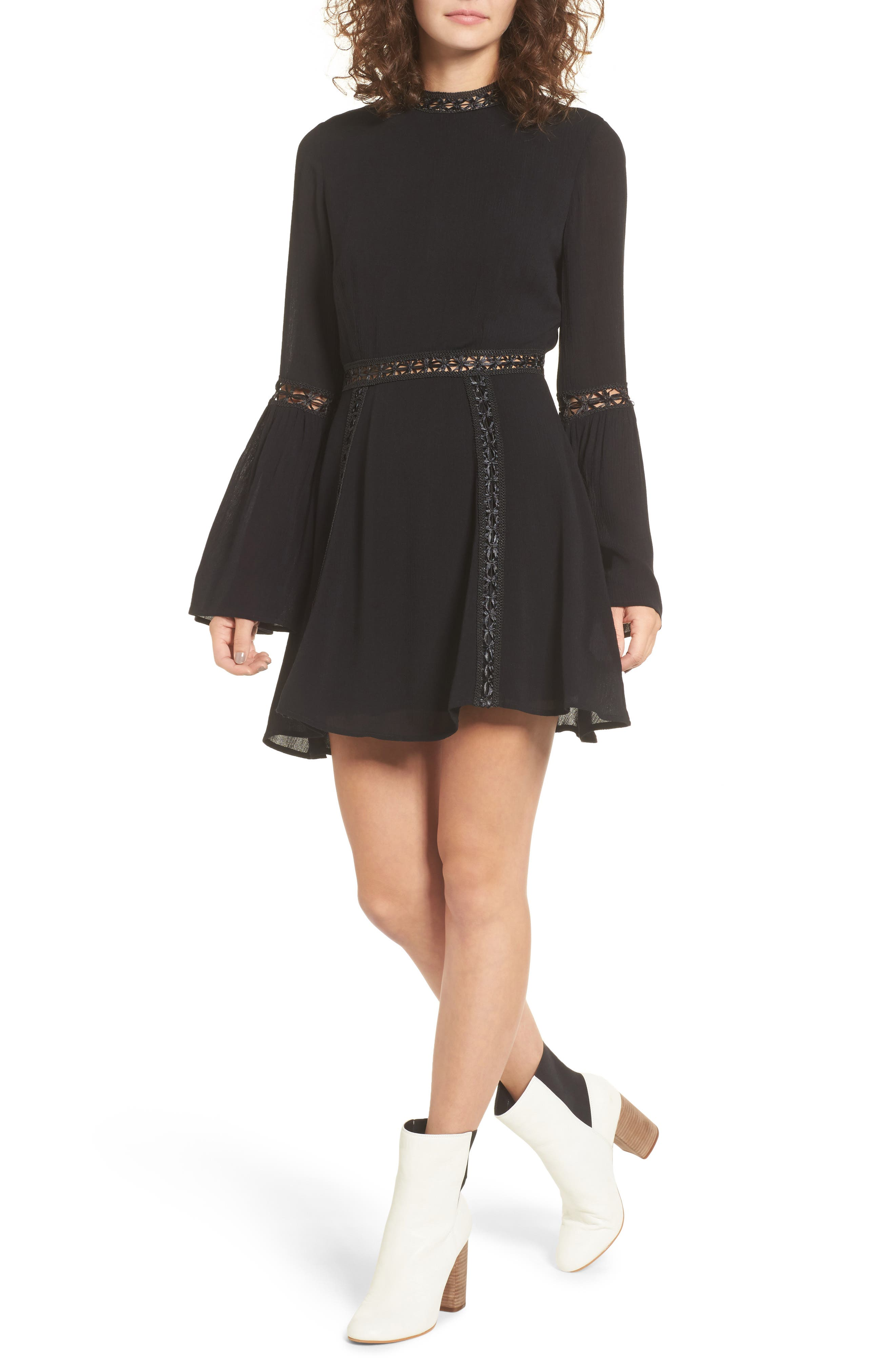 Indie May Bell Sleeve Minidress,                         Main,                         color, Black