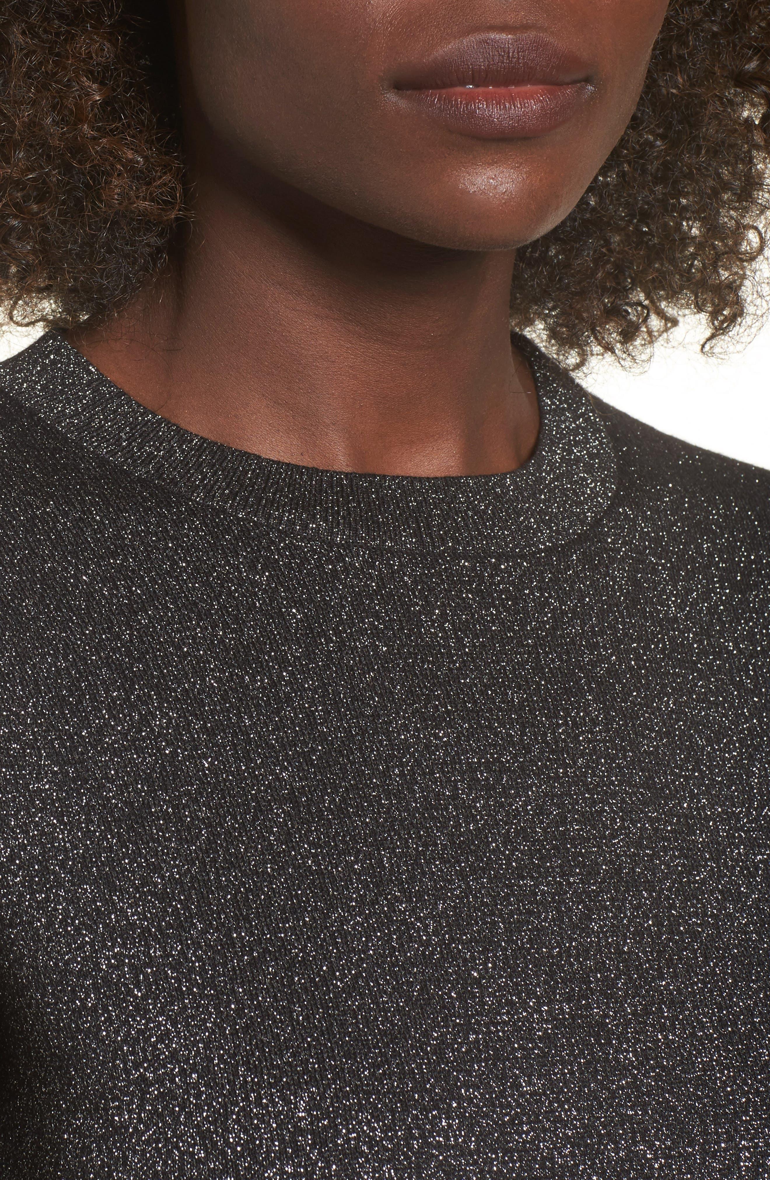Crop Metallic Sweater,                             Alternate thumbnail 5, color,                             Black Metallic