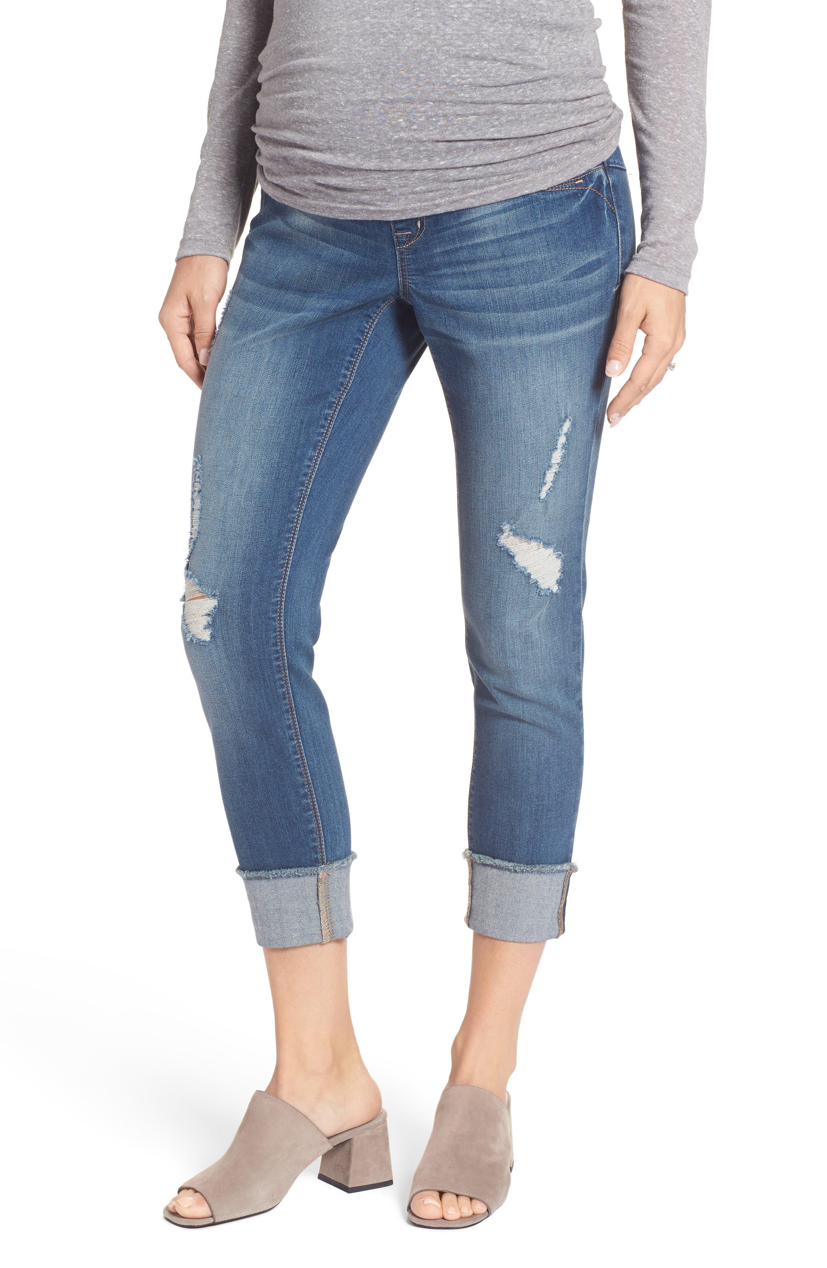 Alternate Image 1 Selected - 1822 Denim Destructed Maternity Crop Jeans
