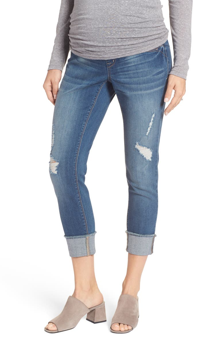 Destructed Maternity Crop Jeans