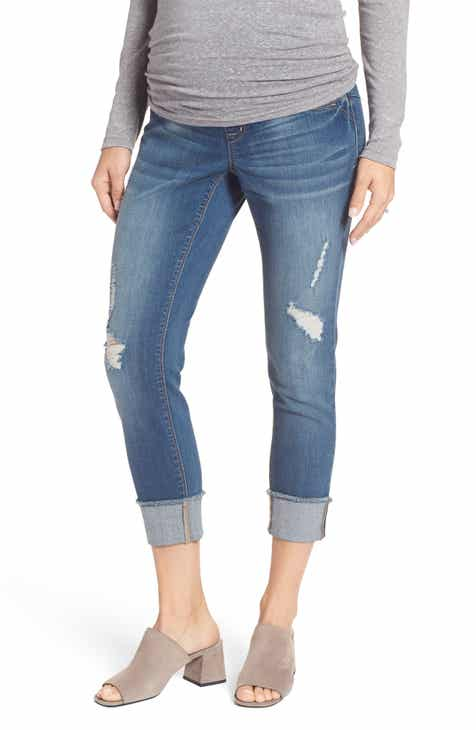 2ed0e78afcd 1822 Denim Destructed Maternity Crop Jeans