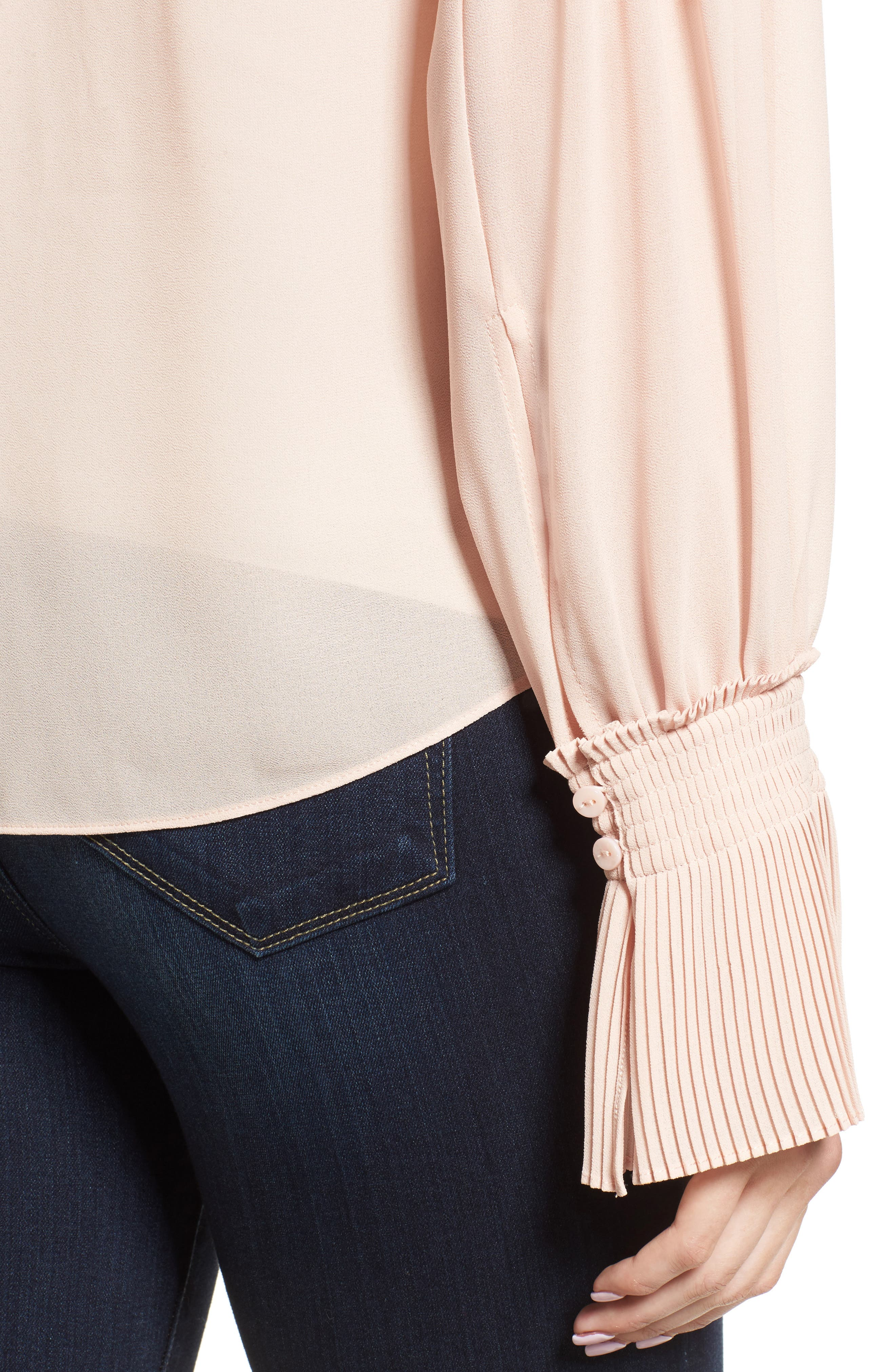 Flare Cuff Top,                             Alternate thumbnail 4, color,                             Pink Peach