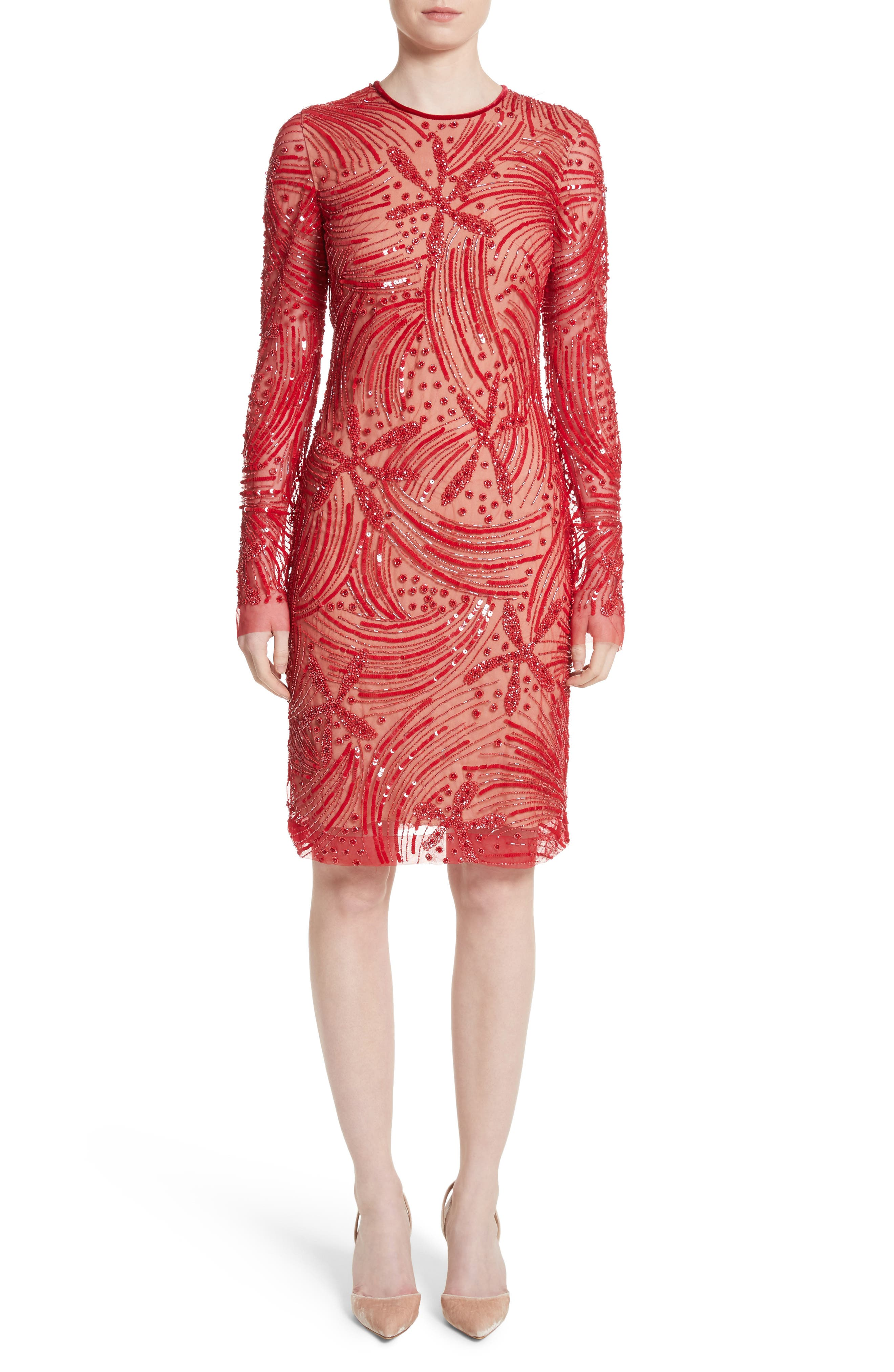 Naeem Khan Beaded Sheath Dress