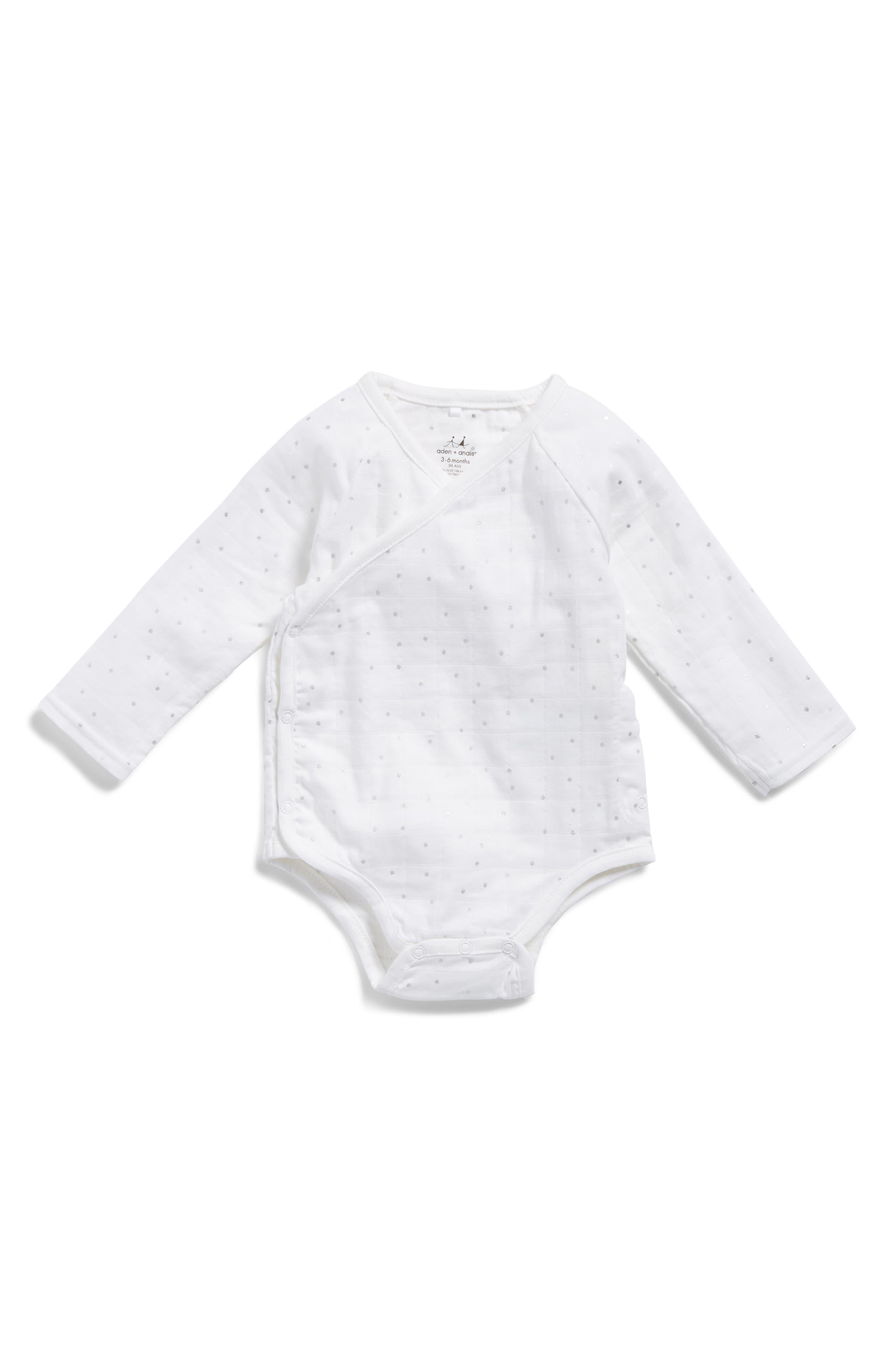 Main Image - aden + anais Long Sleeve Kimono Bodysuit (Baby Girls)