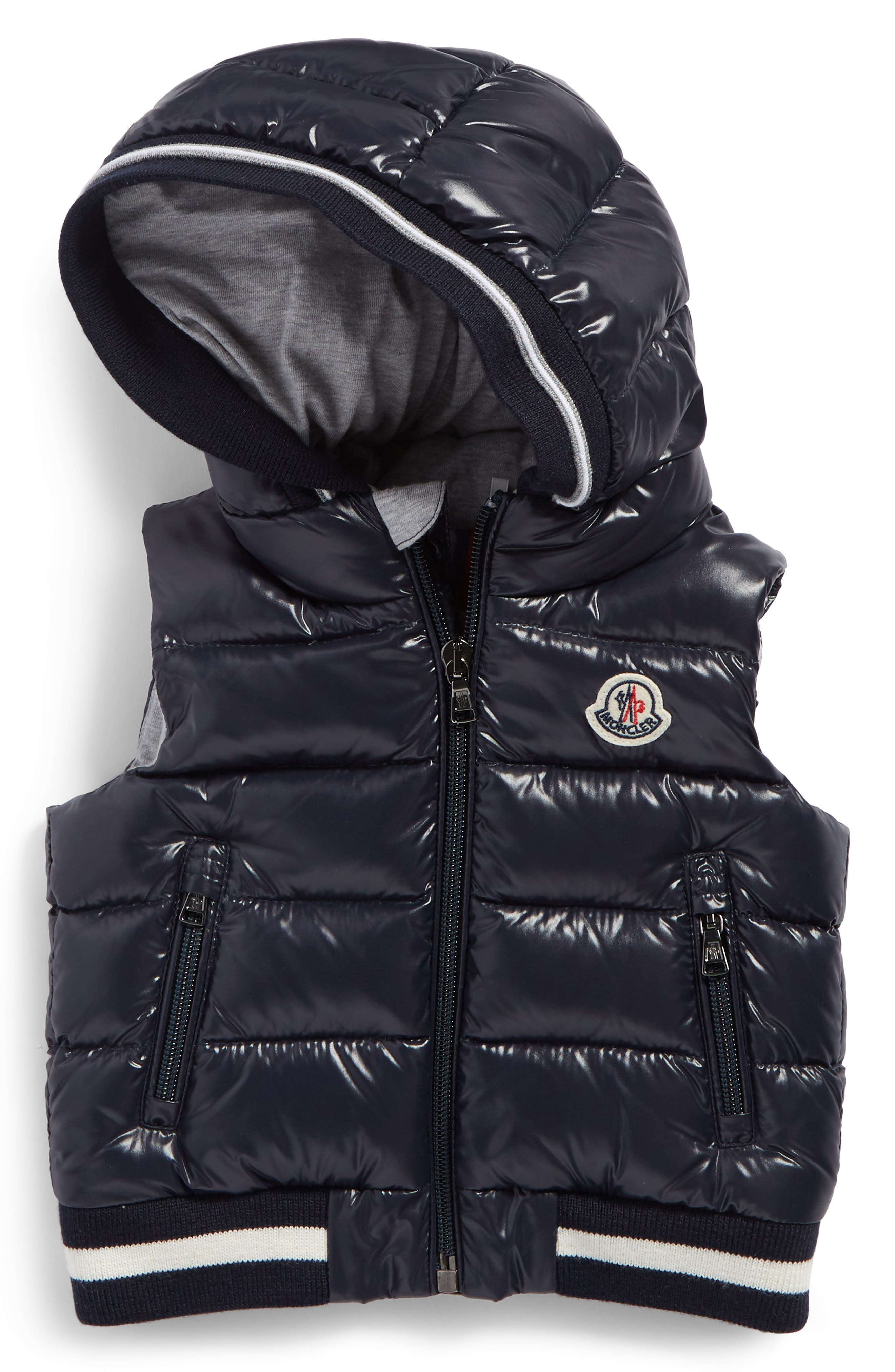 Larry Hooded Down Puffer Vest,                         Main,                         color, Navy