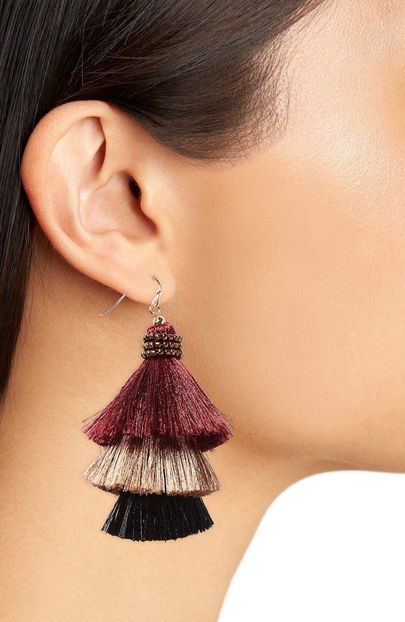 Tiered Tassel Earrings,                             Alternate thumbnail 2, color,                             Burgundy