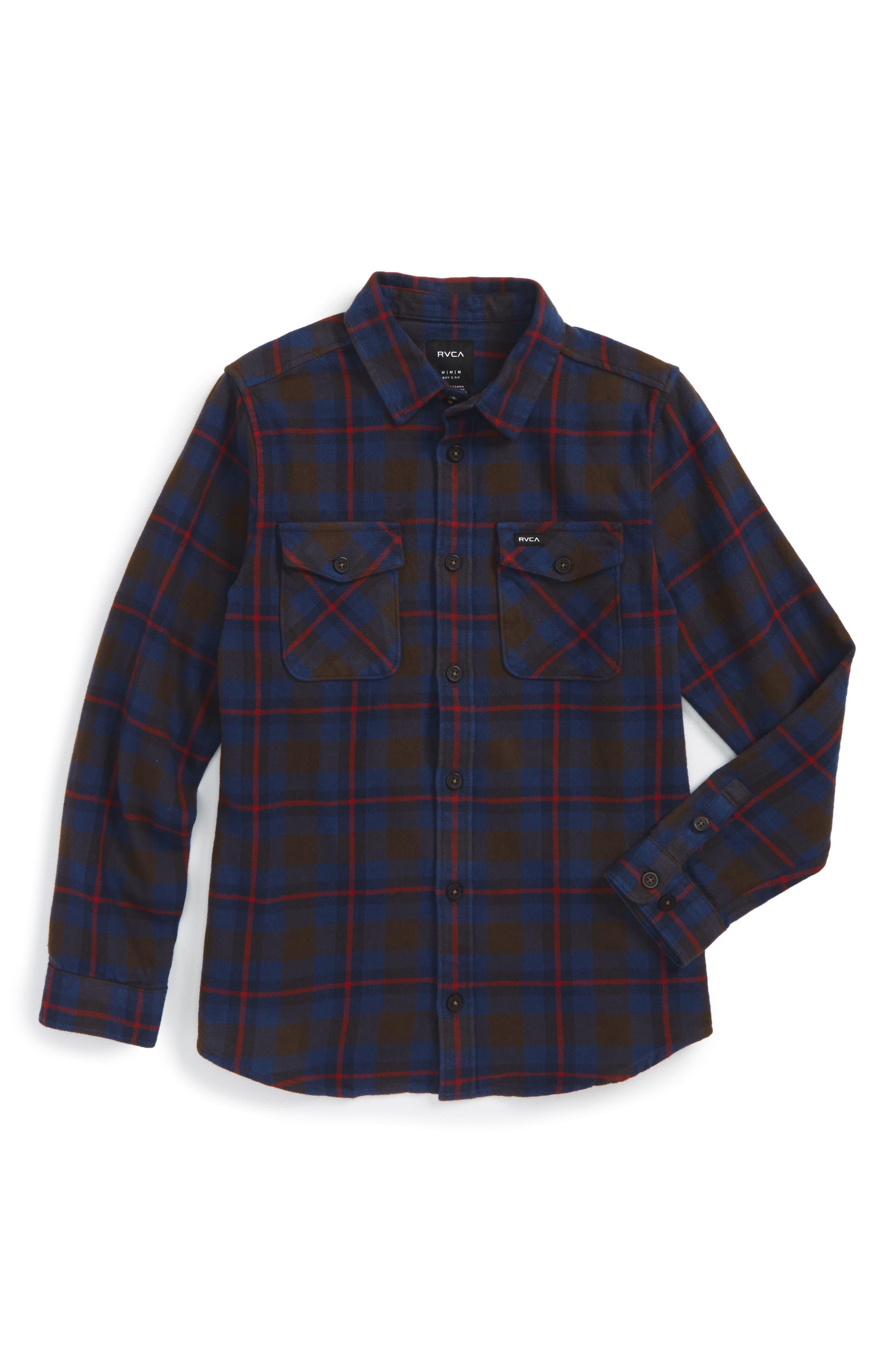 RVCA That'll Work Plaid Flannel Shirt (Big Boys)