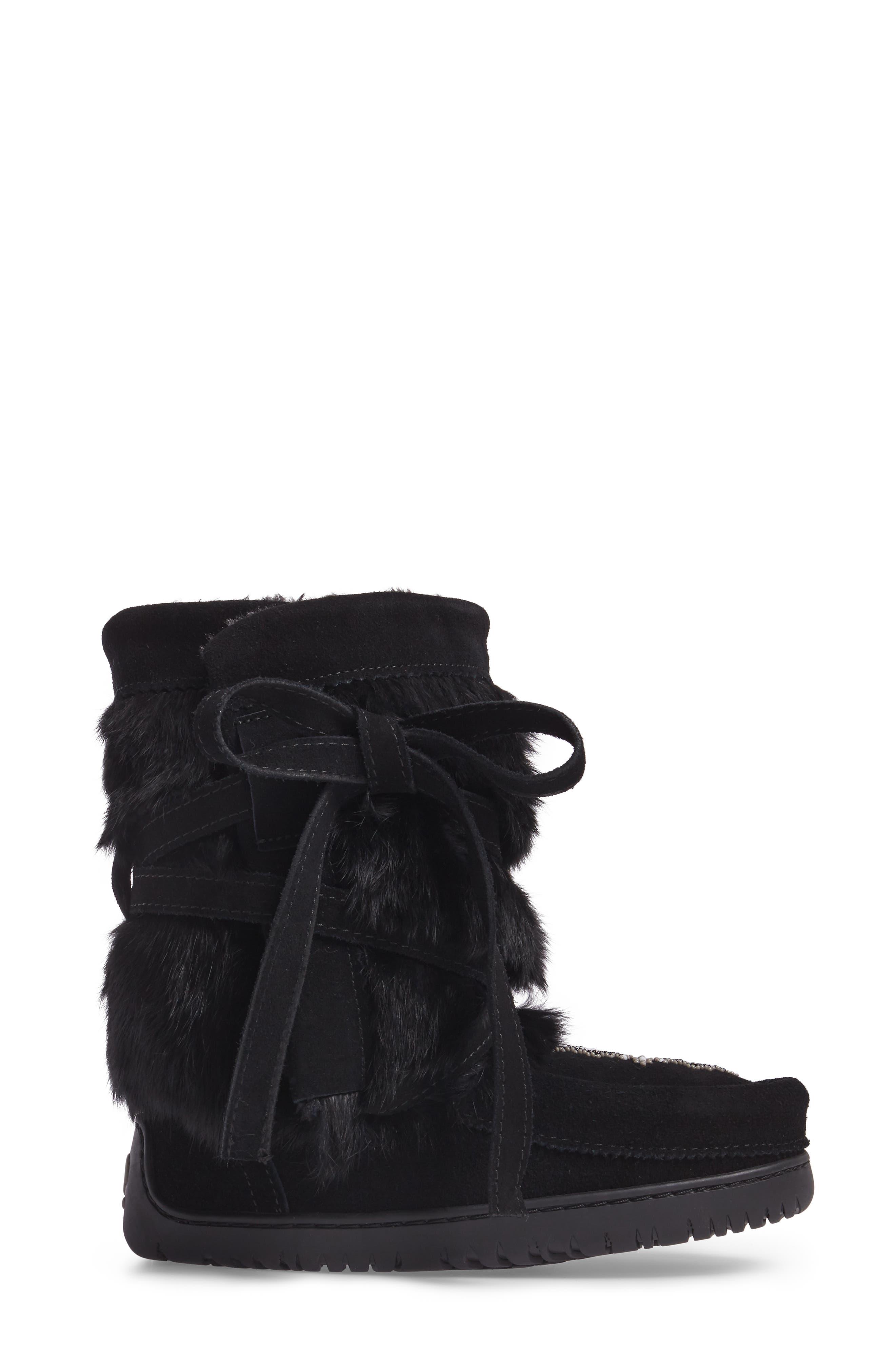 Beaded Short Wrap Genuine Rabbit Fur & Shearling Boot,                             Alternate thumbnail 3, color,                             Black Rabbit Fur