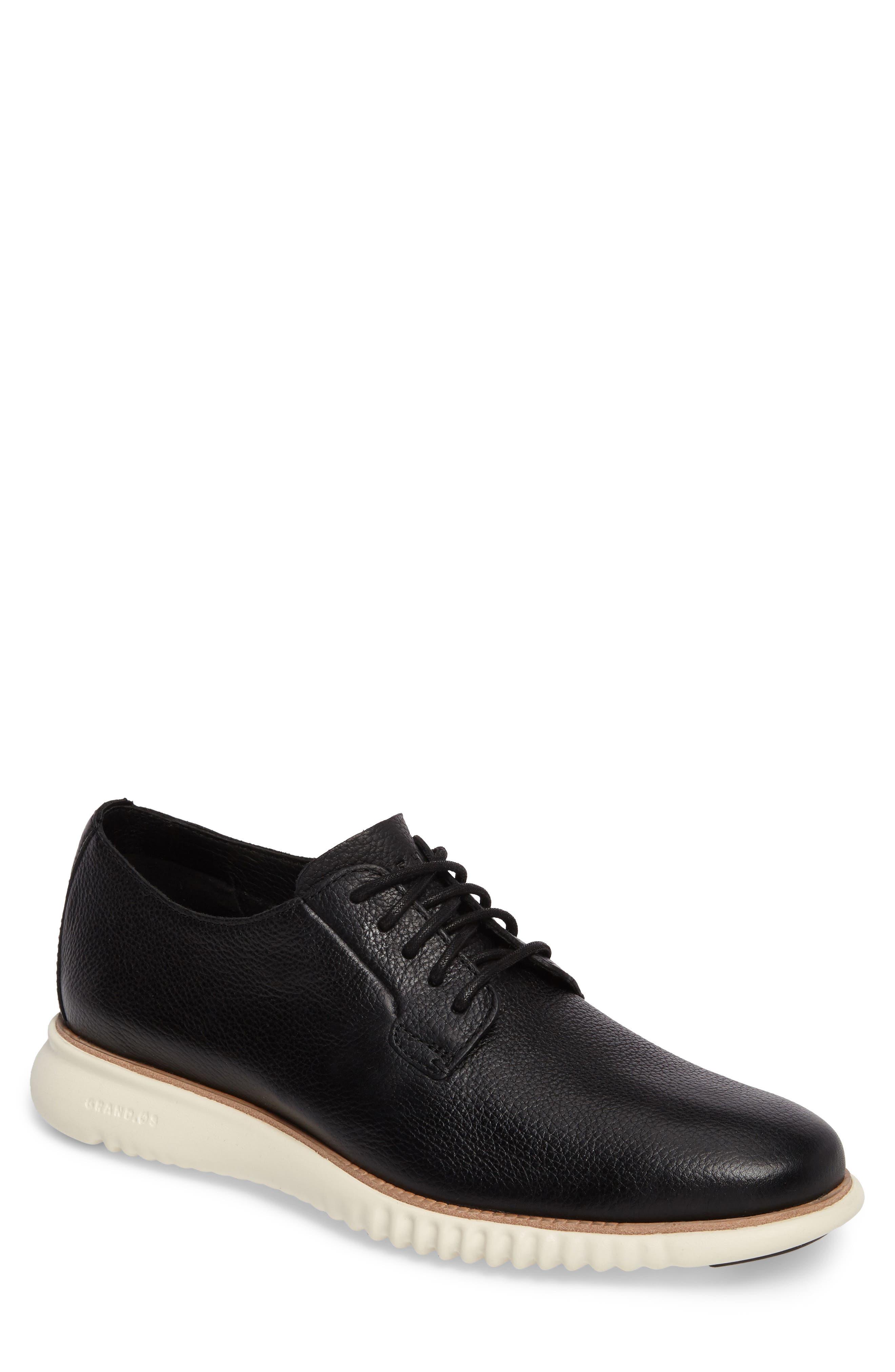 2.ZeroGrand Plain Toe Derby,                         Main,                         color, Black/ Ivory Leather